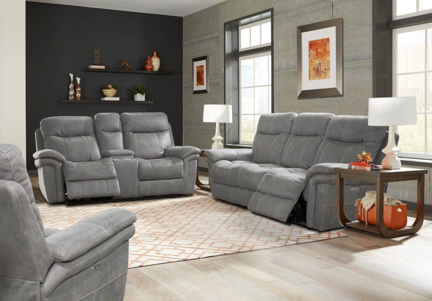 Mason Carbon Dual Power Reclining Living Room Set From