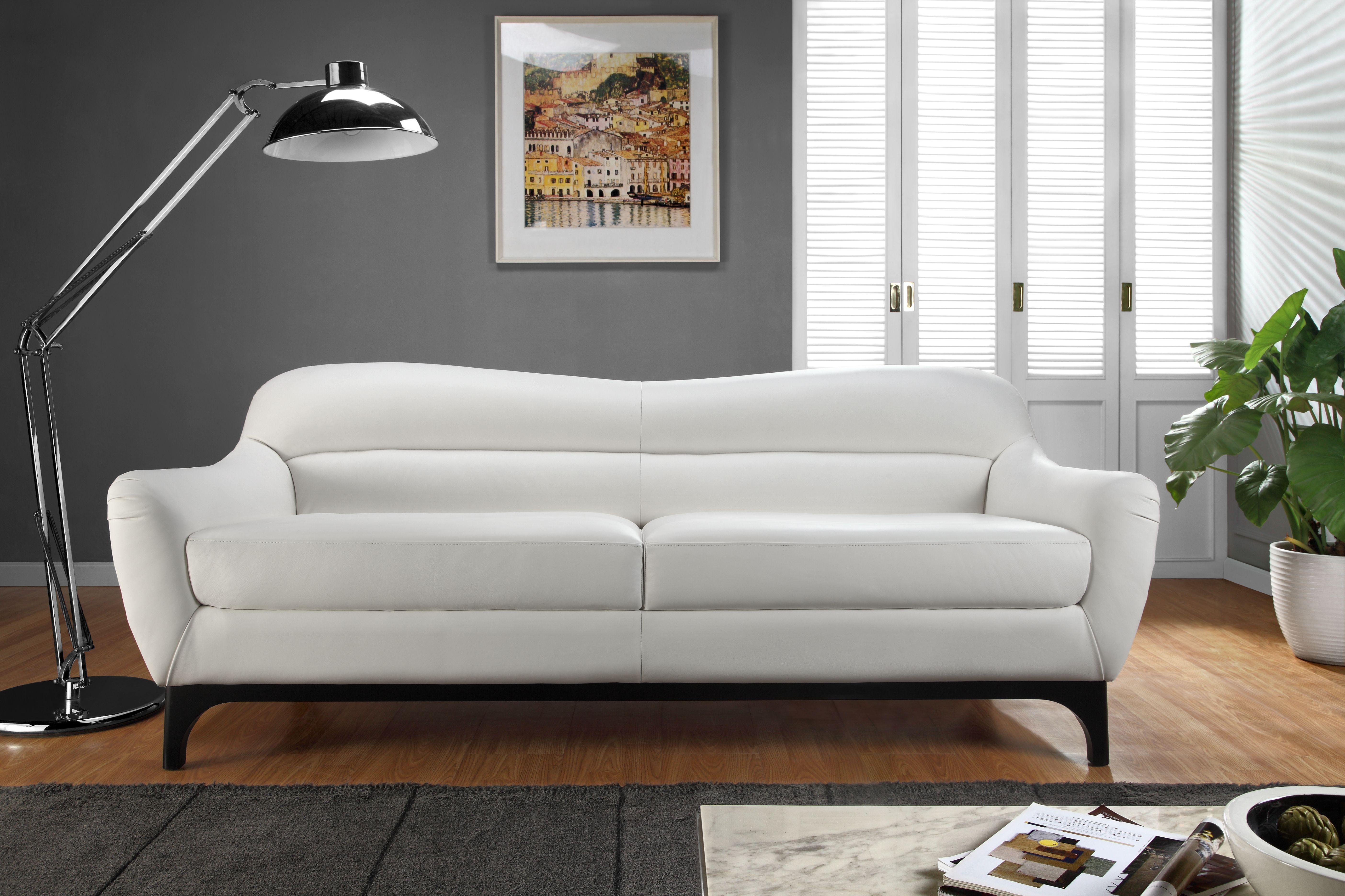Wollo Pure White Top Grain Leather Sofa