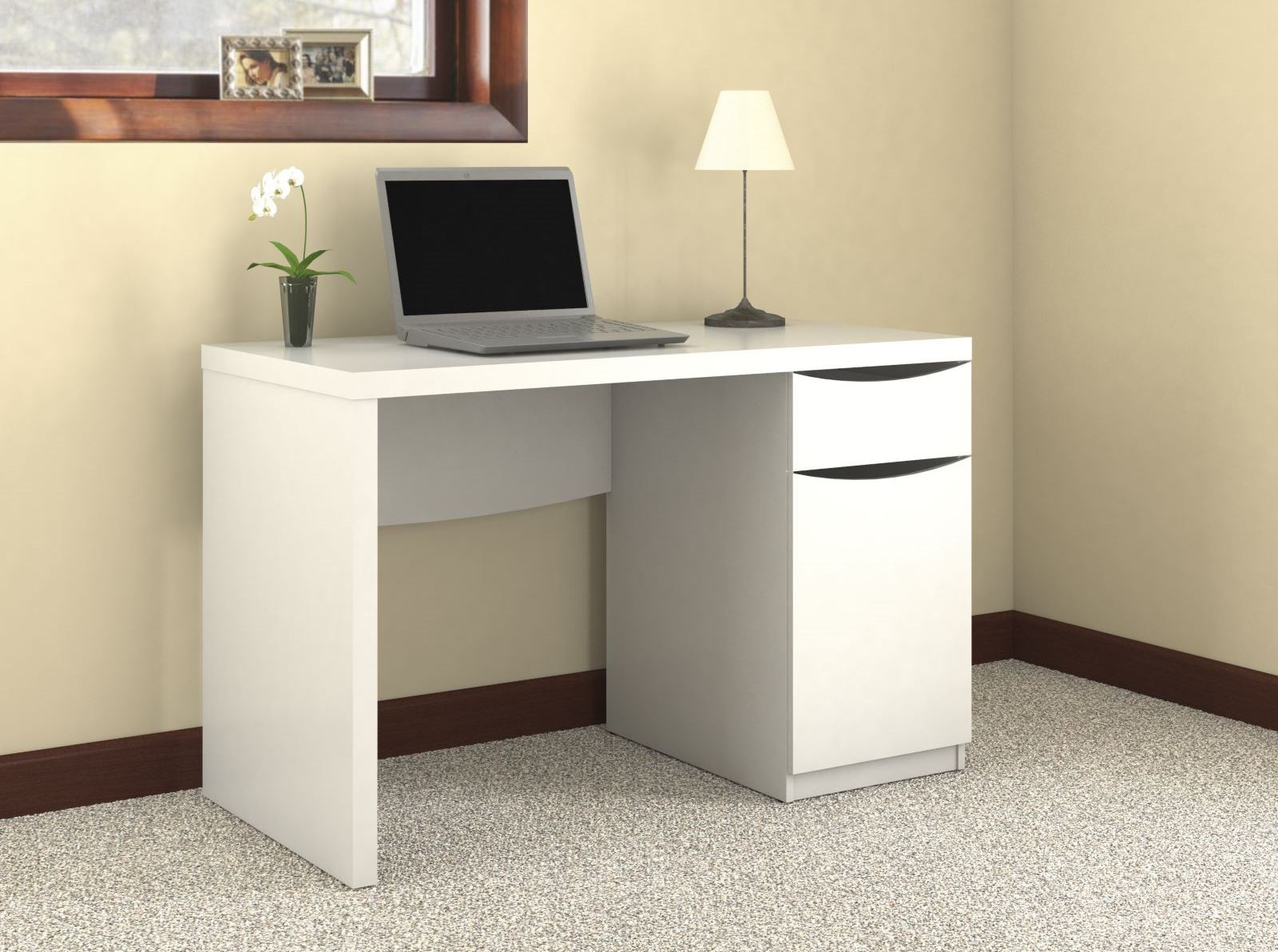 Montrese Pure White Desk From Bush My72117 03 Coleman