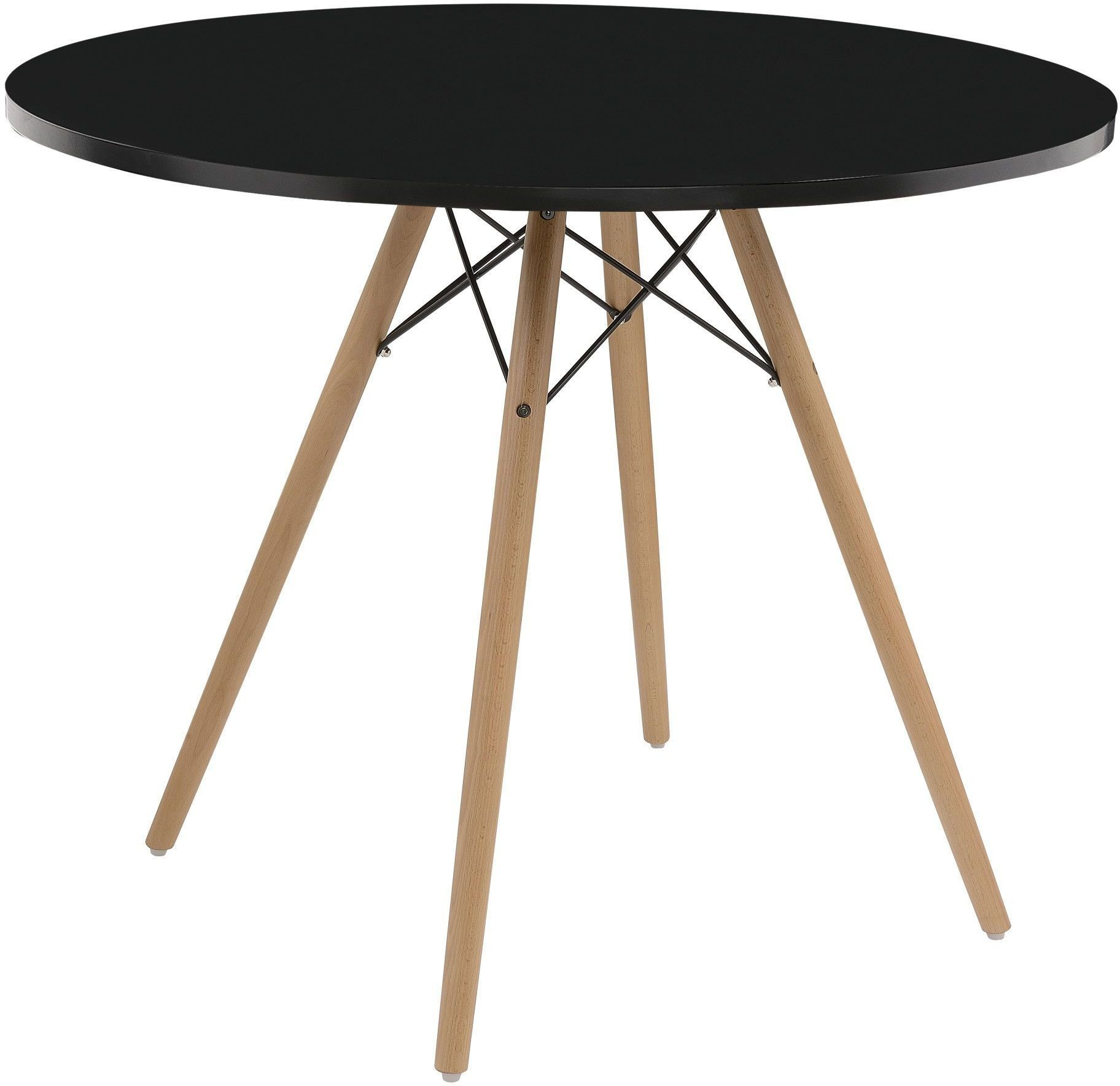 Annette black 40 round dining table from emerald home for Black round dining table