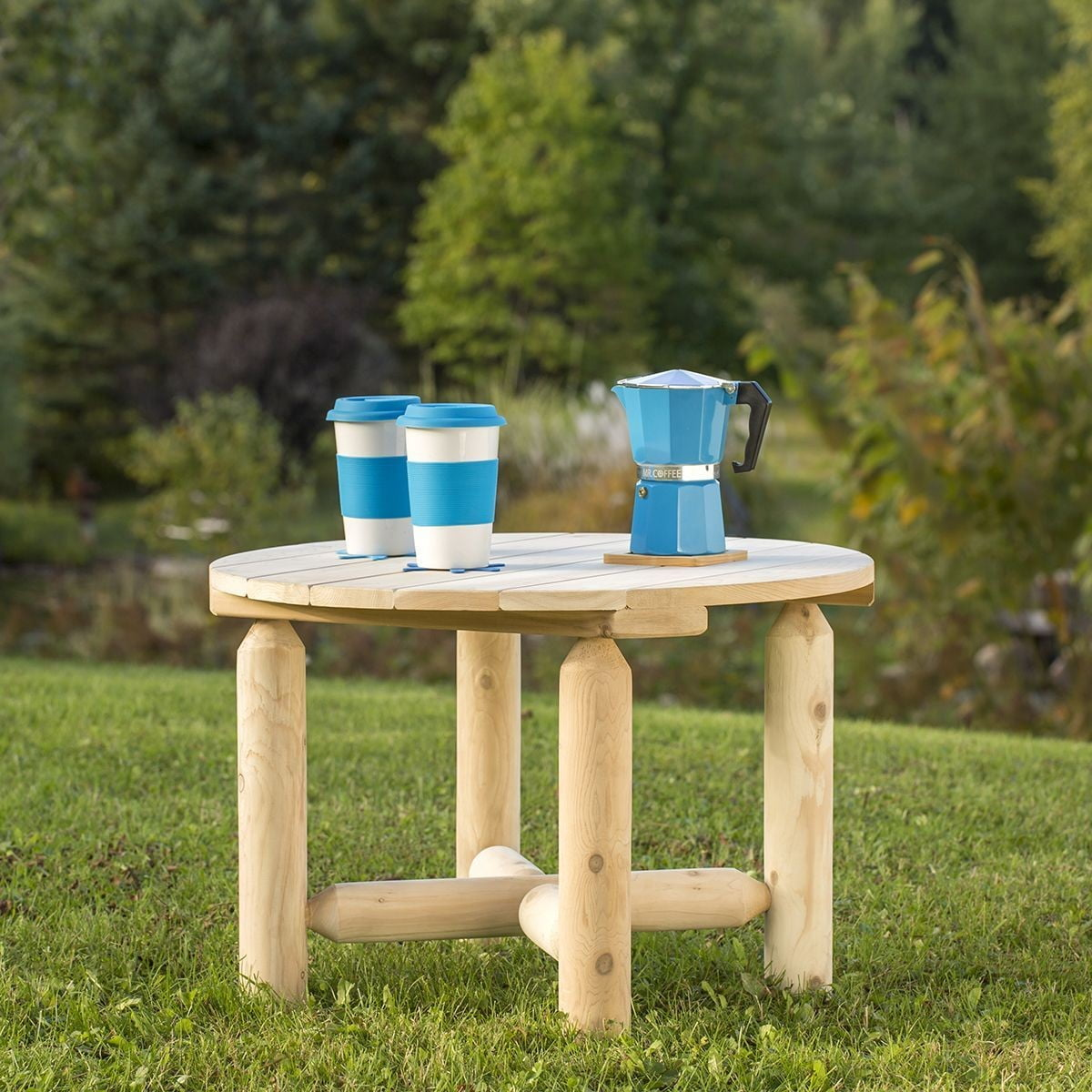 White Cedar Outdoor Round Coffee Table From Bestar Coleman Furniture