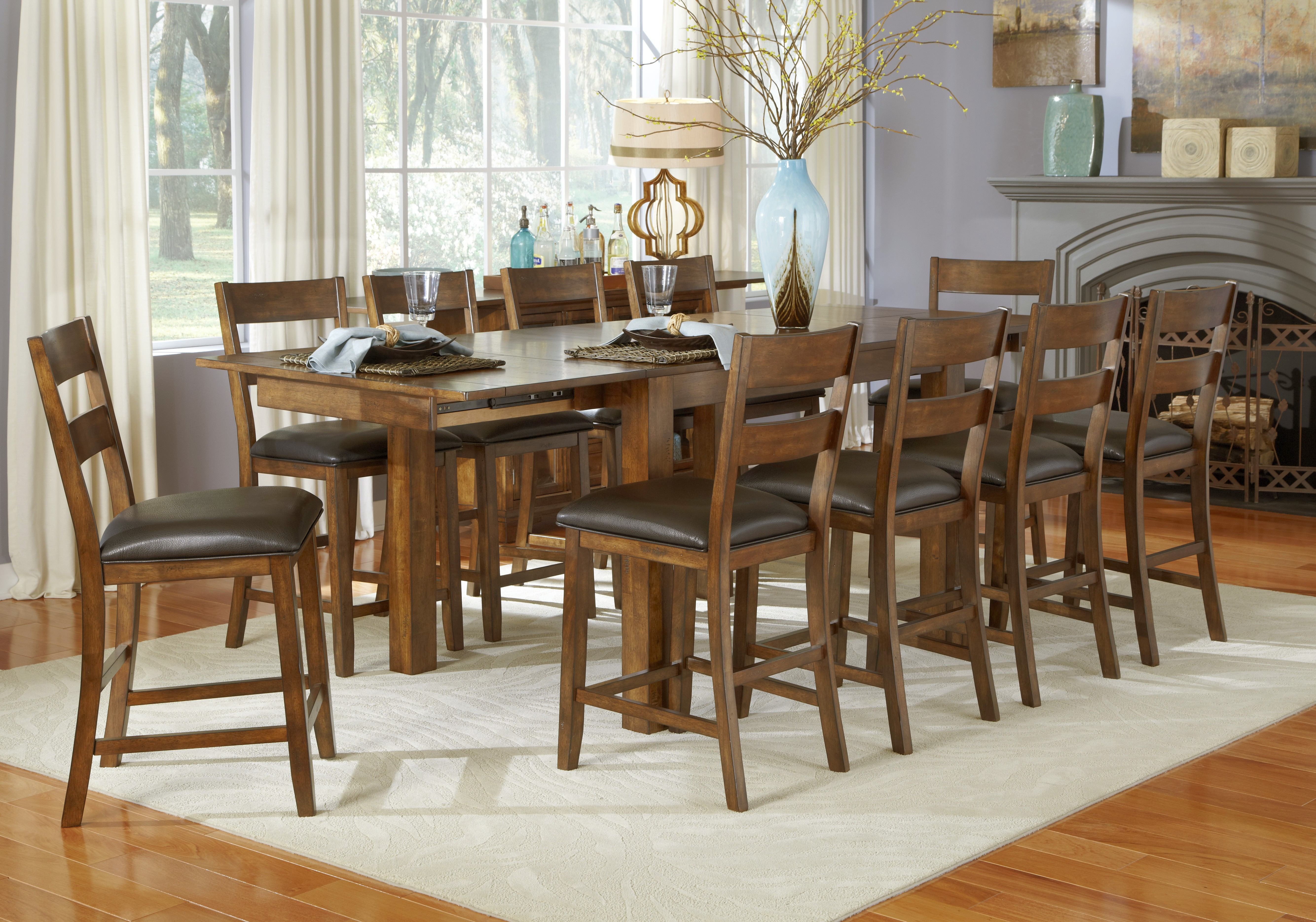 mariposa 100 rustic whiskey extendable counter height leg dining room set from a america. Black Bedroom Furniture Sets. Home Design Ideas