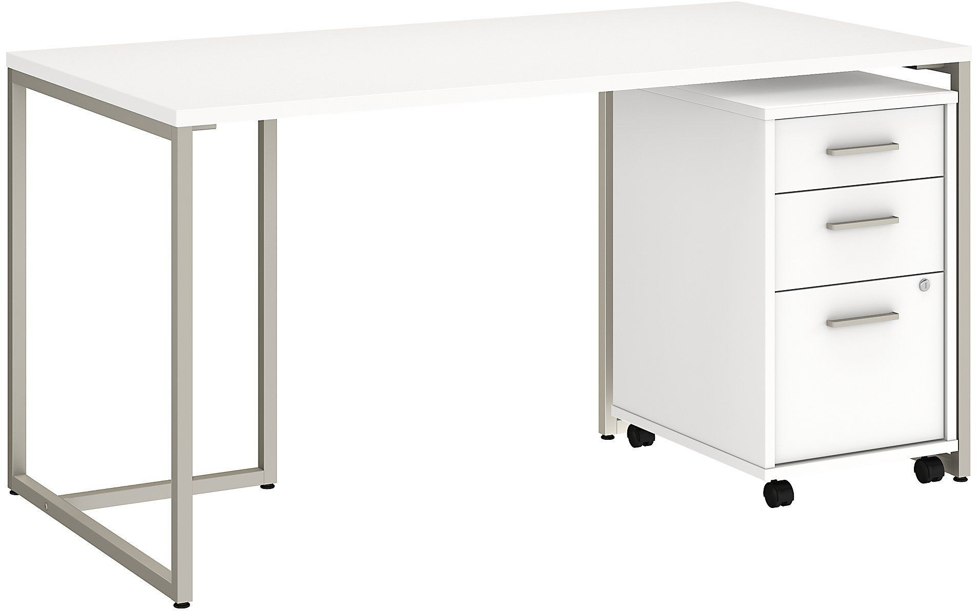 method white 60 table desk with 3 drawer mobile file cabinet from kathy ireland by bush. Black Bedroom Furniture Sets. Home Design Ideas