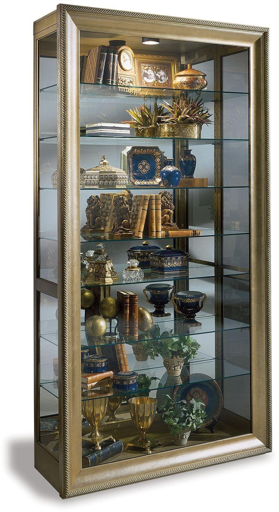Museum Vermeer Hand Decorated Antique Gold Curio Cabinet