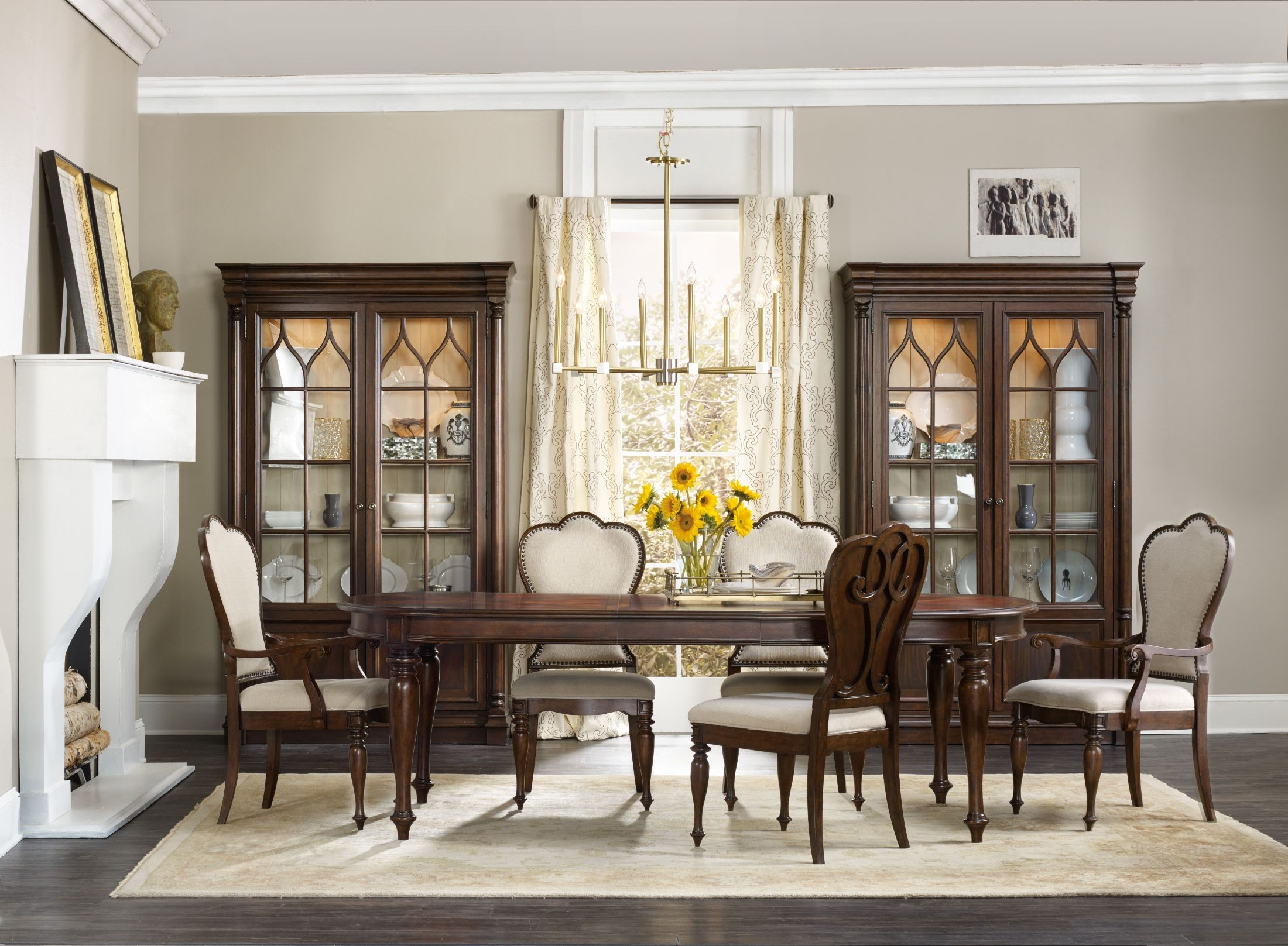 Leesburg brown extendable dining room set from hooker for Brown dining room set