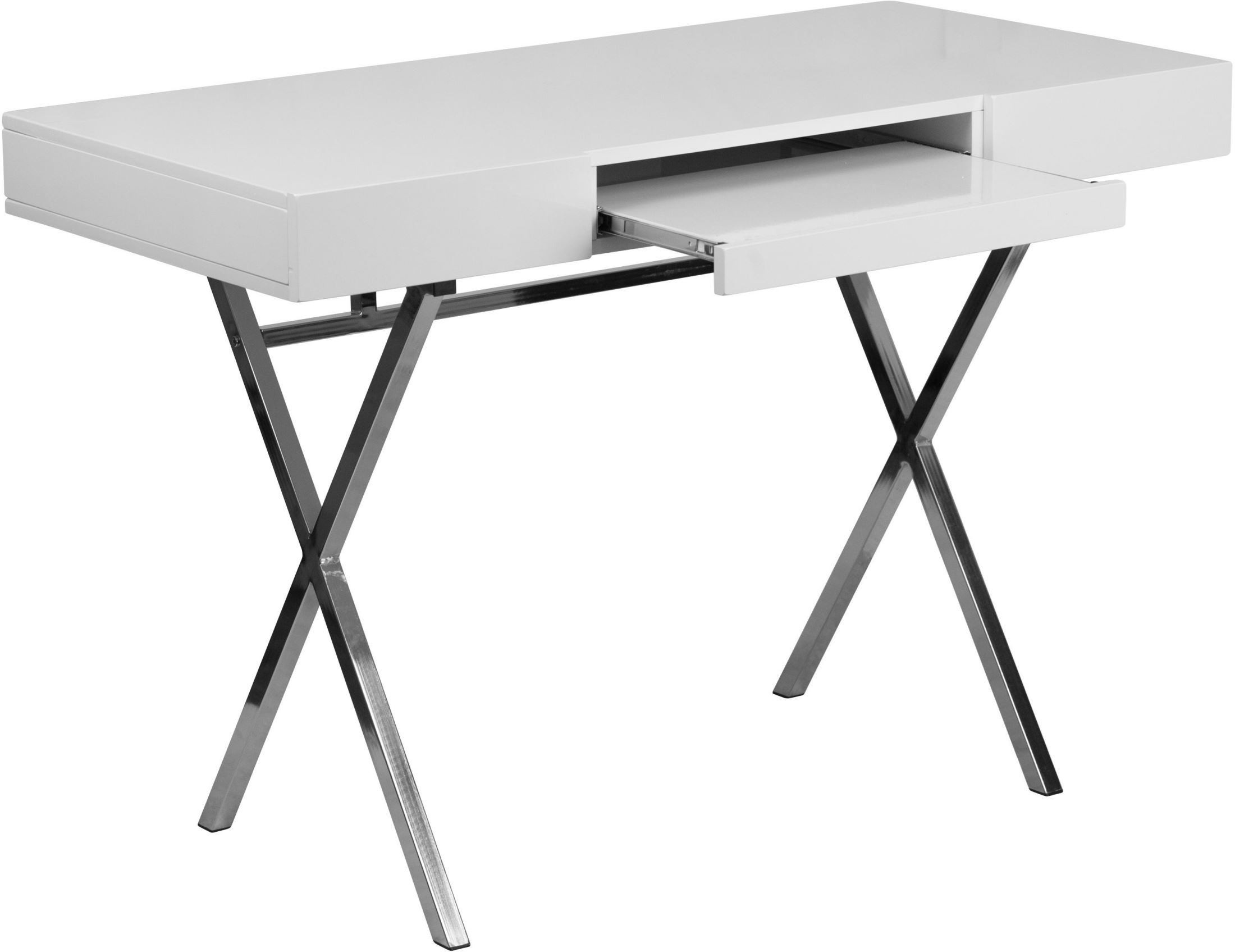 45 25inchwhite Computer Desk With Keyboard Tray And