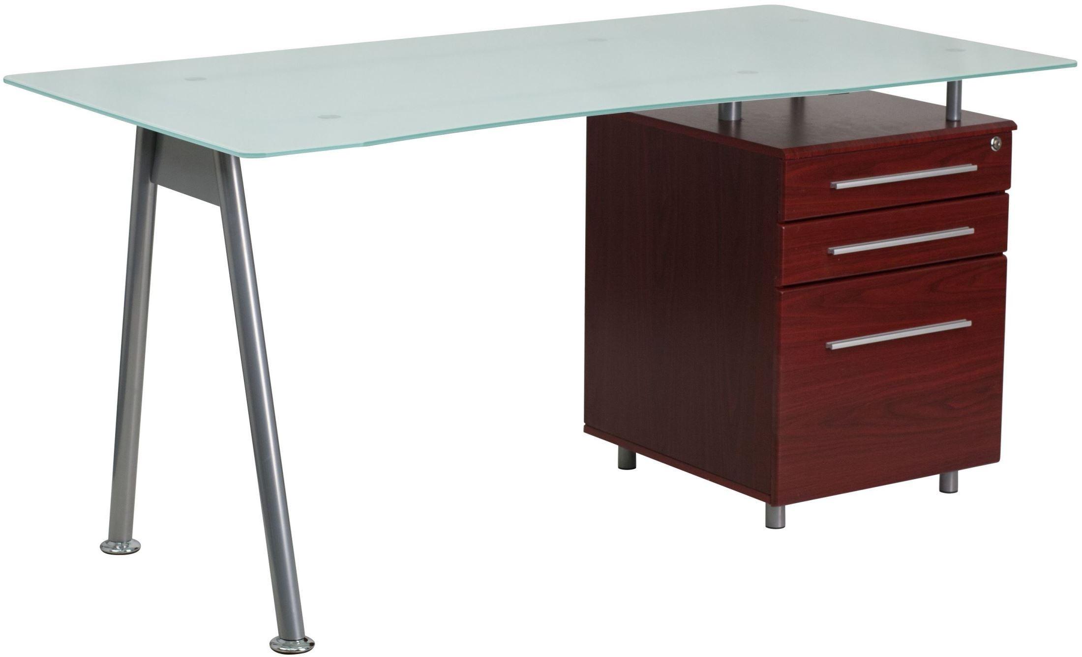glass computer desk with 3 drawer pedestal from renegade. Black Bedroom Furniture Sets. Home Design Ideas