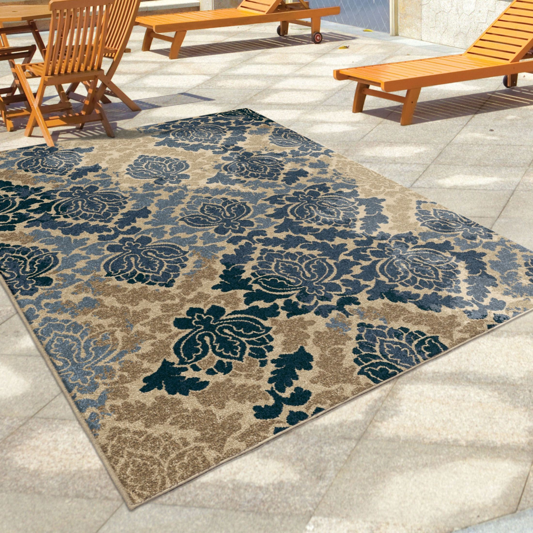 Discount 8x11 Area Rugs: Four Seasons Indoor/Outdoor Leaves Allover Damask Multi