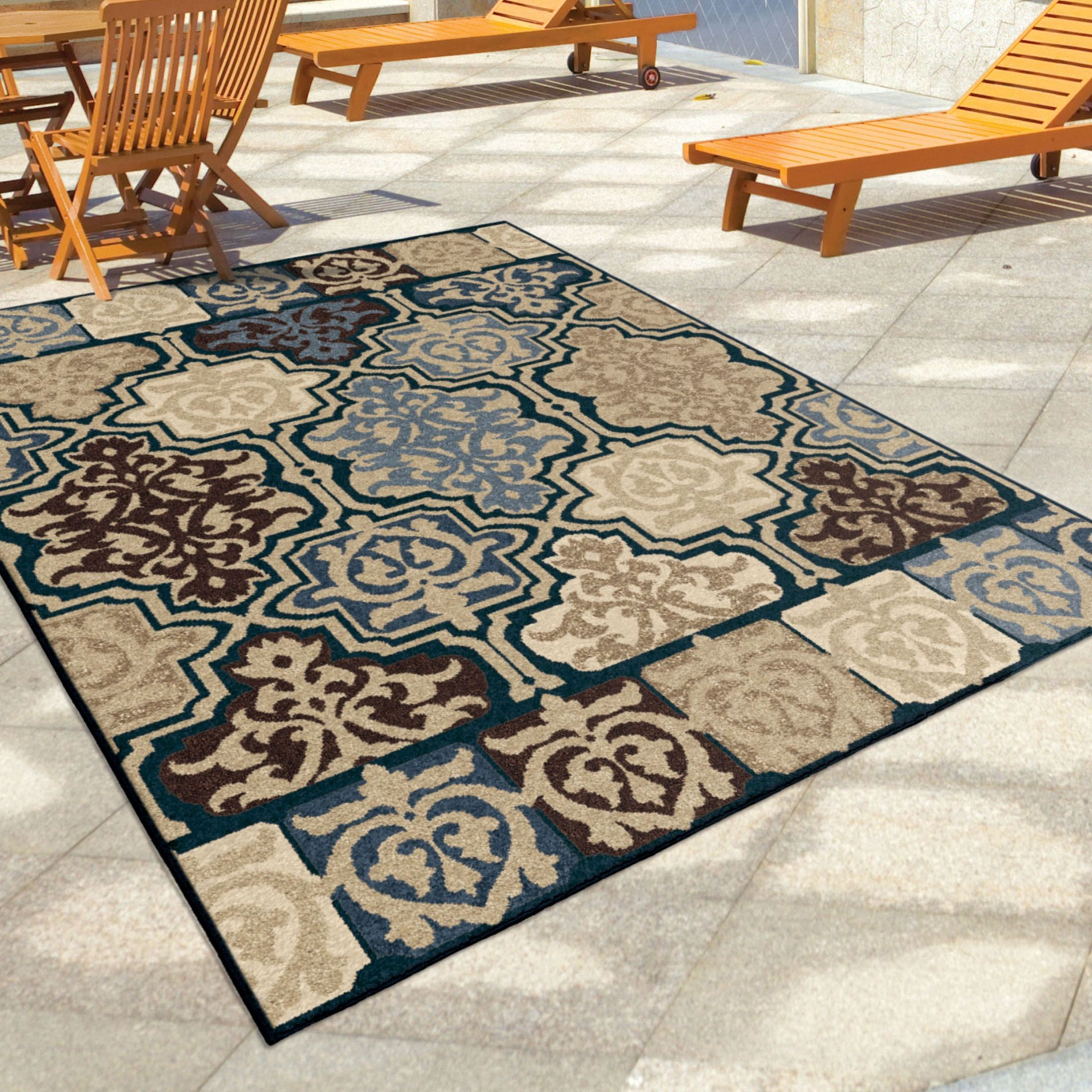 Discount 8x11 Area Rugs: Four Seasons Indoor/Outdoor Geometric Yandell Multi Small