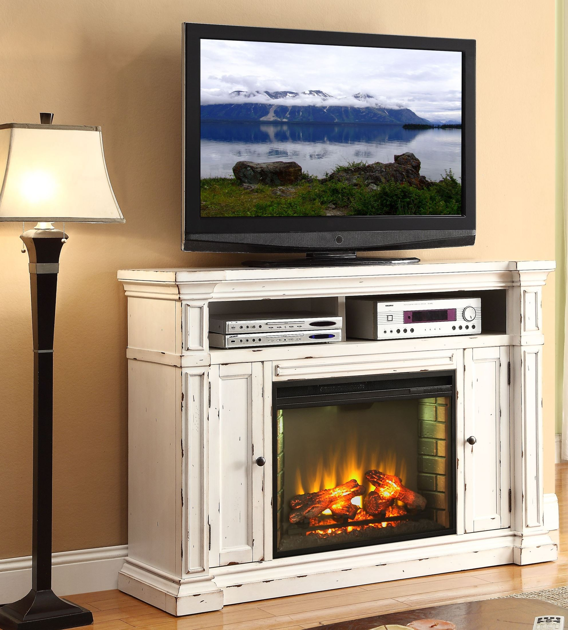Furnishing Around Art Simple Entertainment Room Part 2: New Castle Rustic White Fireplace Media Center From