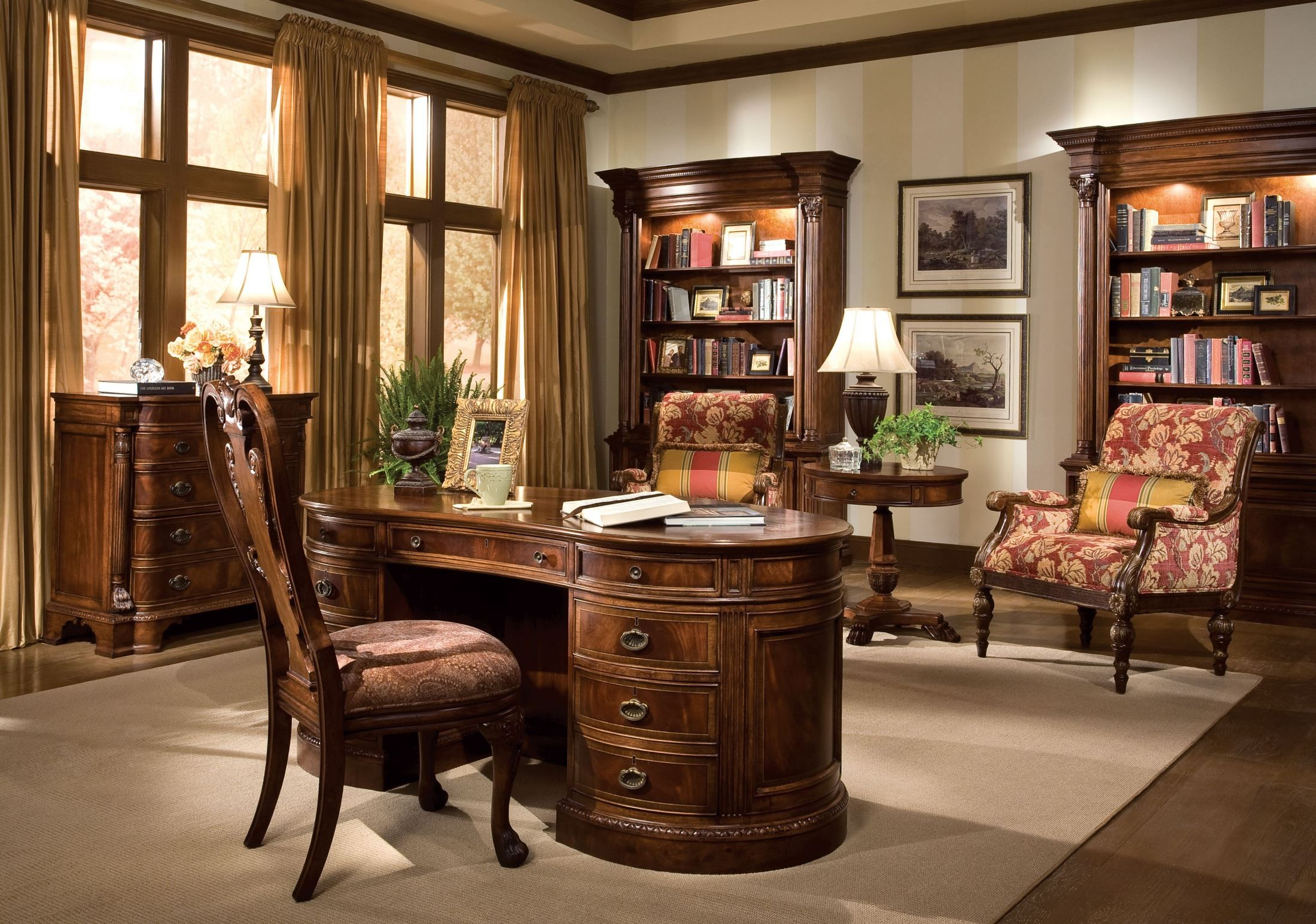 New Orleans Praline Home Office Set From Hekman Furniture Coleman Furniture