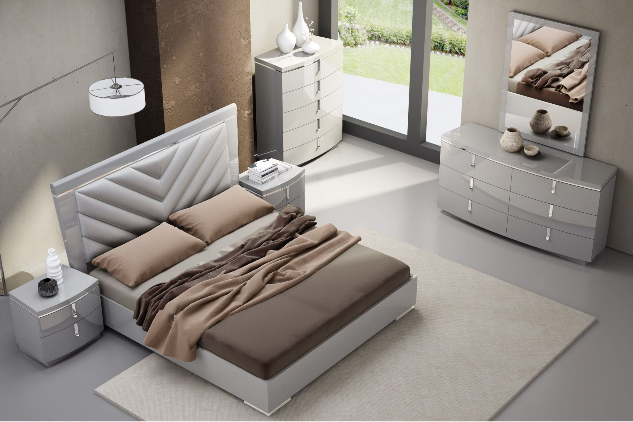 New York Gray Upholstered Platform Bedroom Set, 18215-Q, J&M