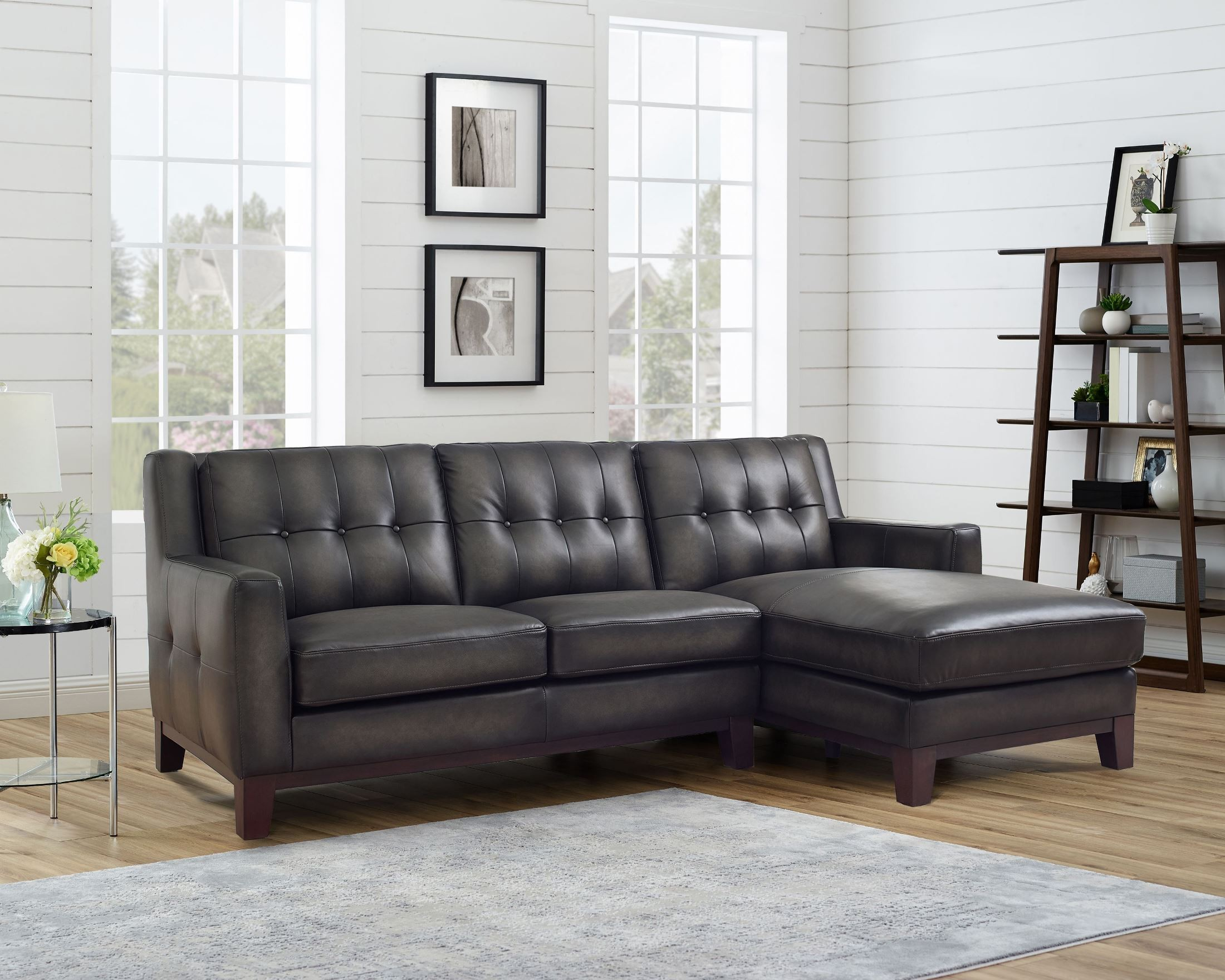 hydeline nicola grey top grain leather sofa chaise