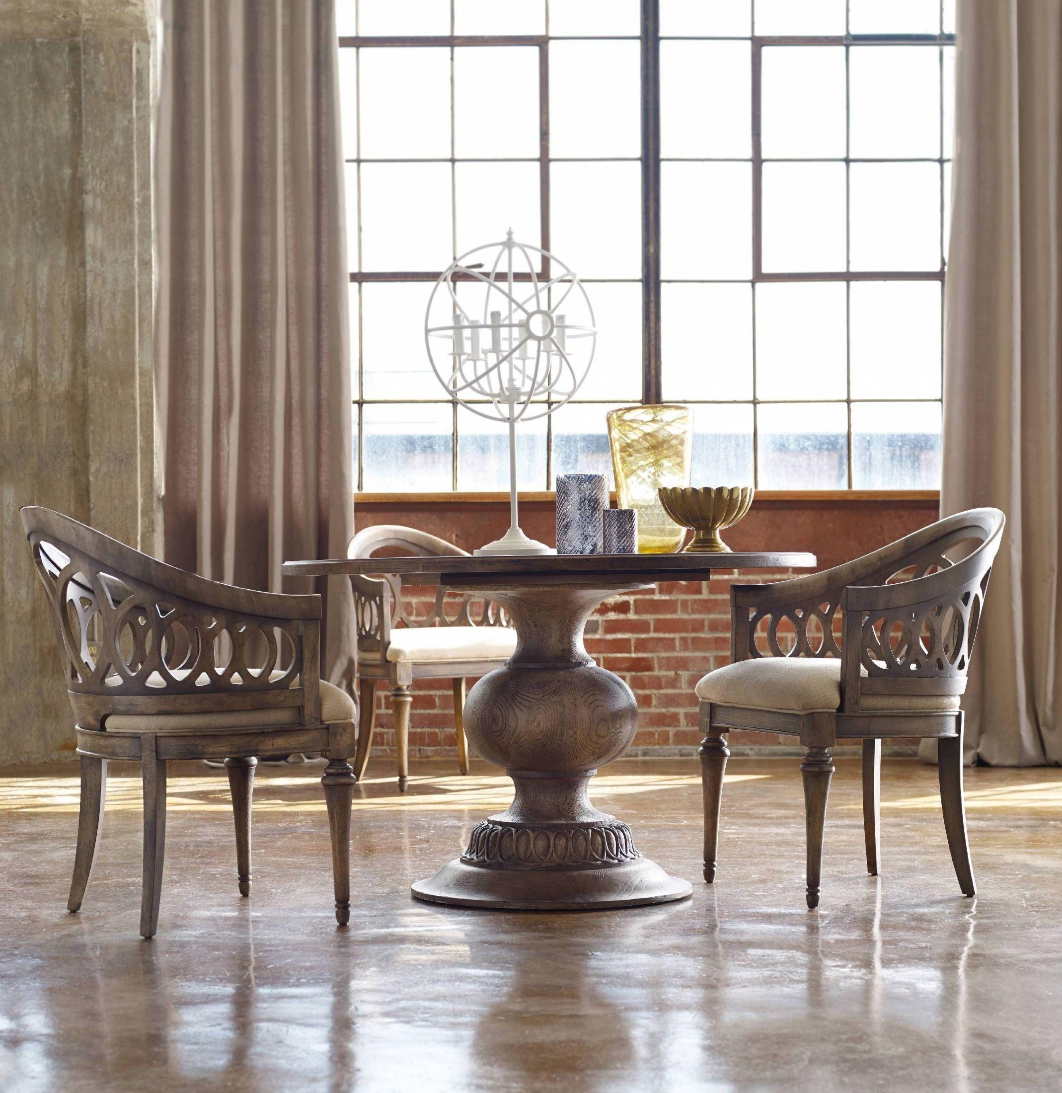 Melange brown cambria 48 dining room set from hooker for Brown dining room set