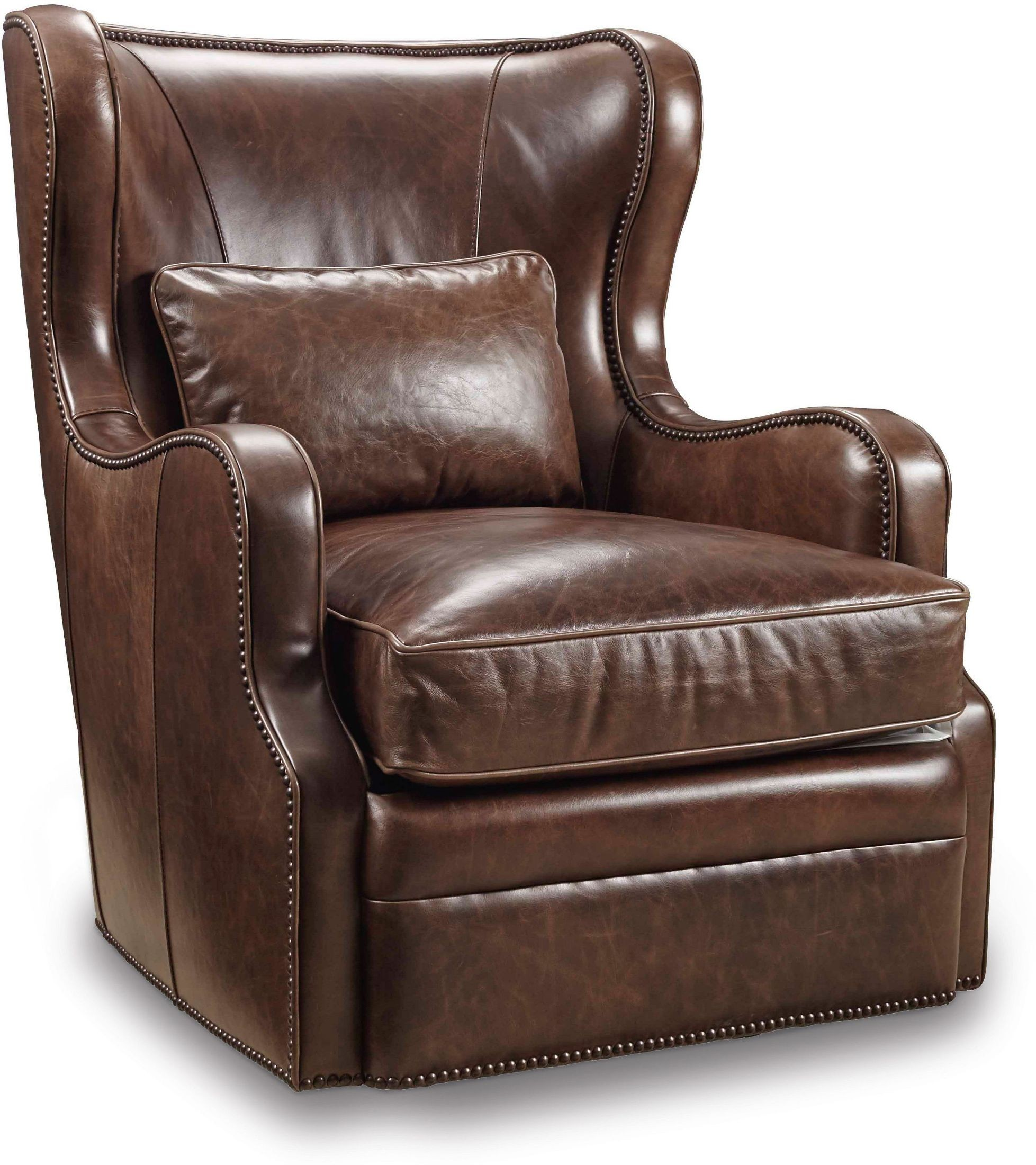 Wellington brown leather swivel club chair from hooker for Swivel club chair leather