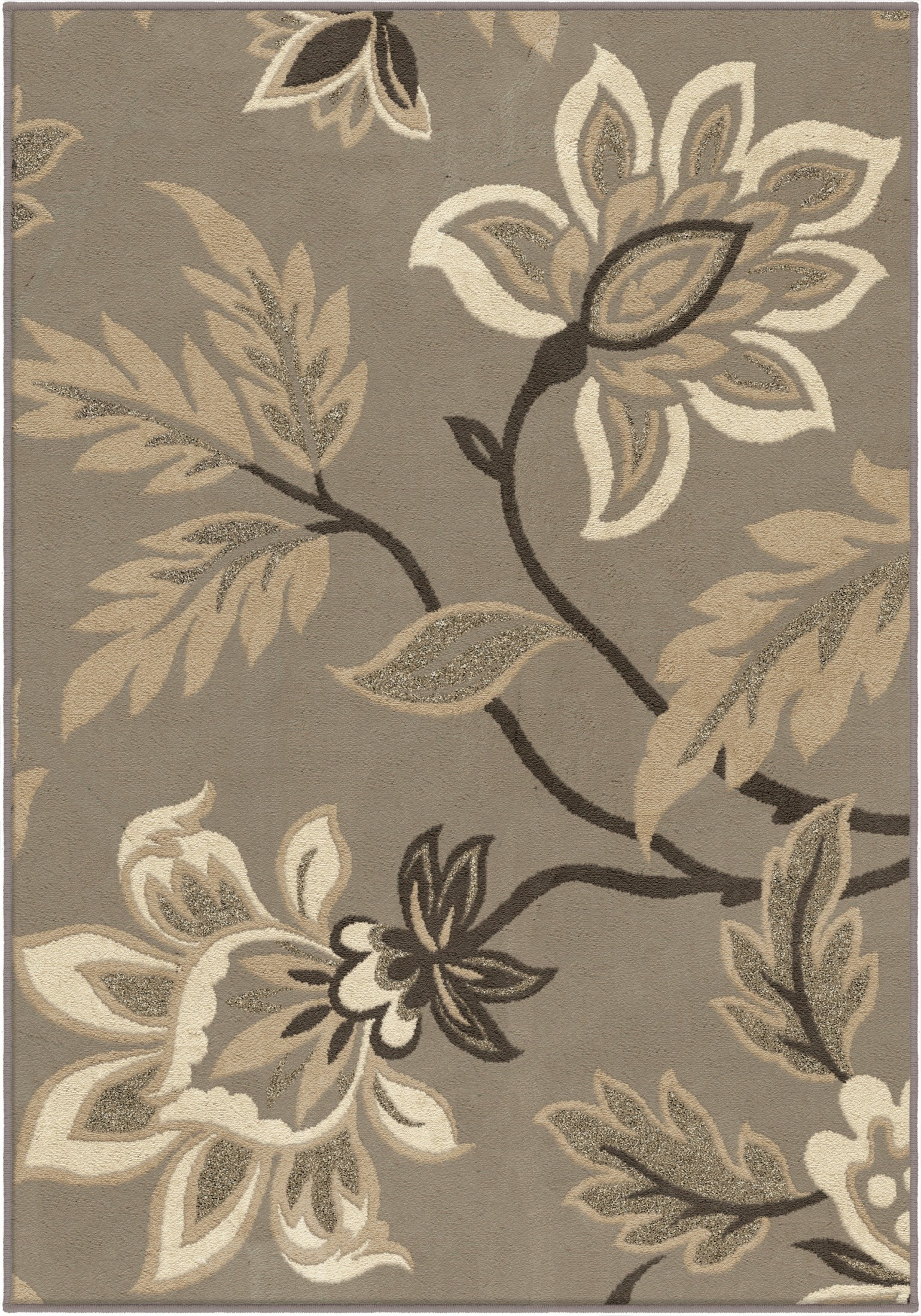 Nuance Trendy Colors Floral Lily Gray Medium Area Rug From