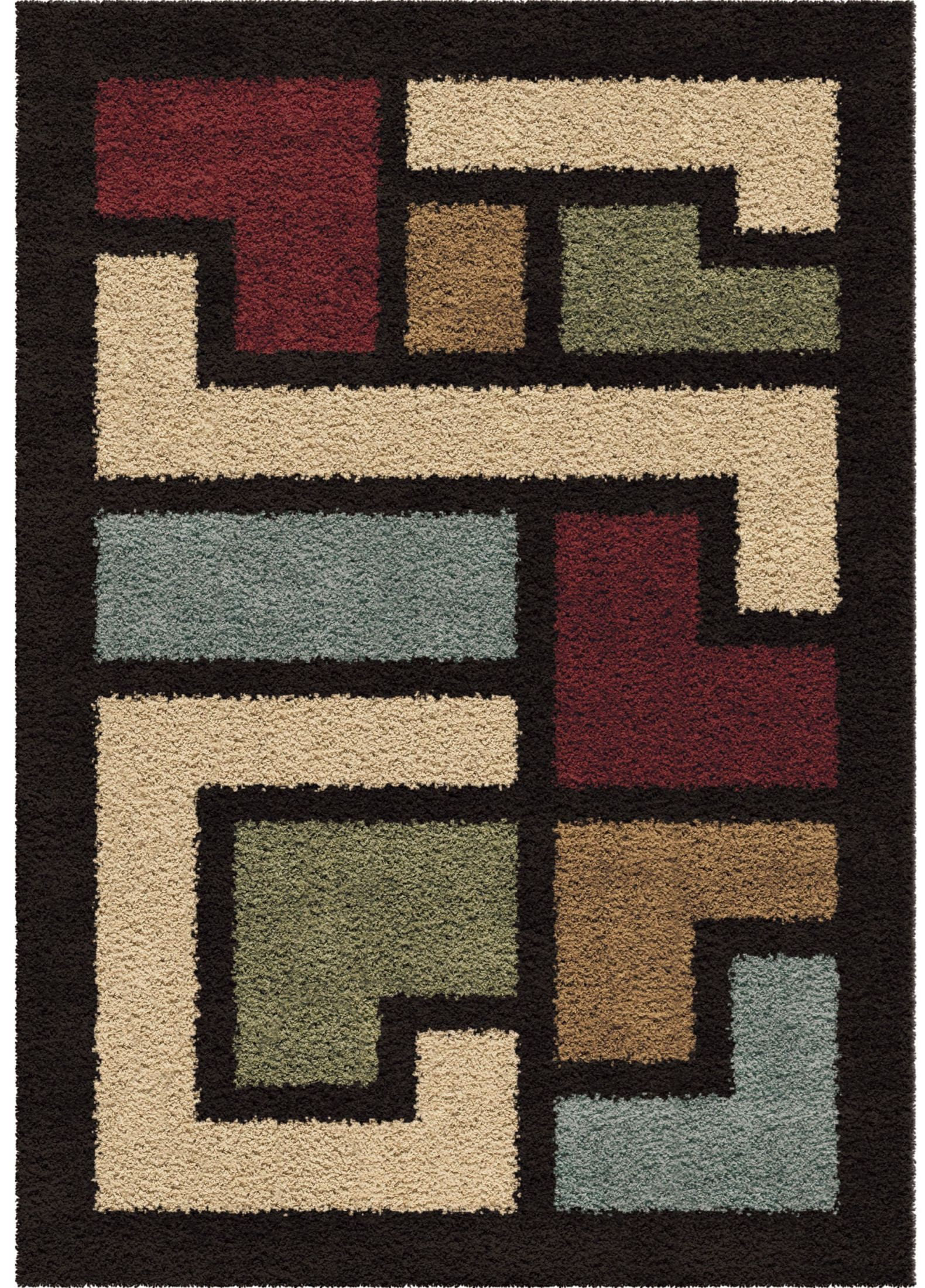 Impressions Shag Plush Shapes Link Multi Large Area Rug