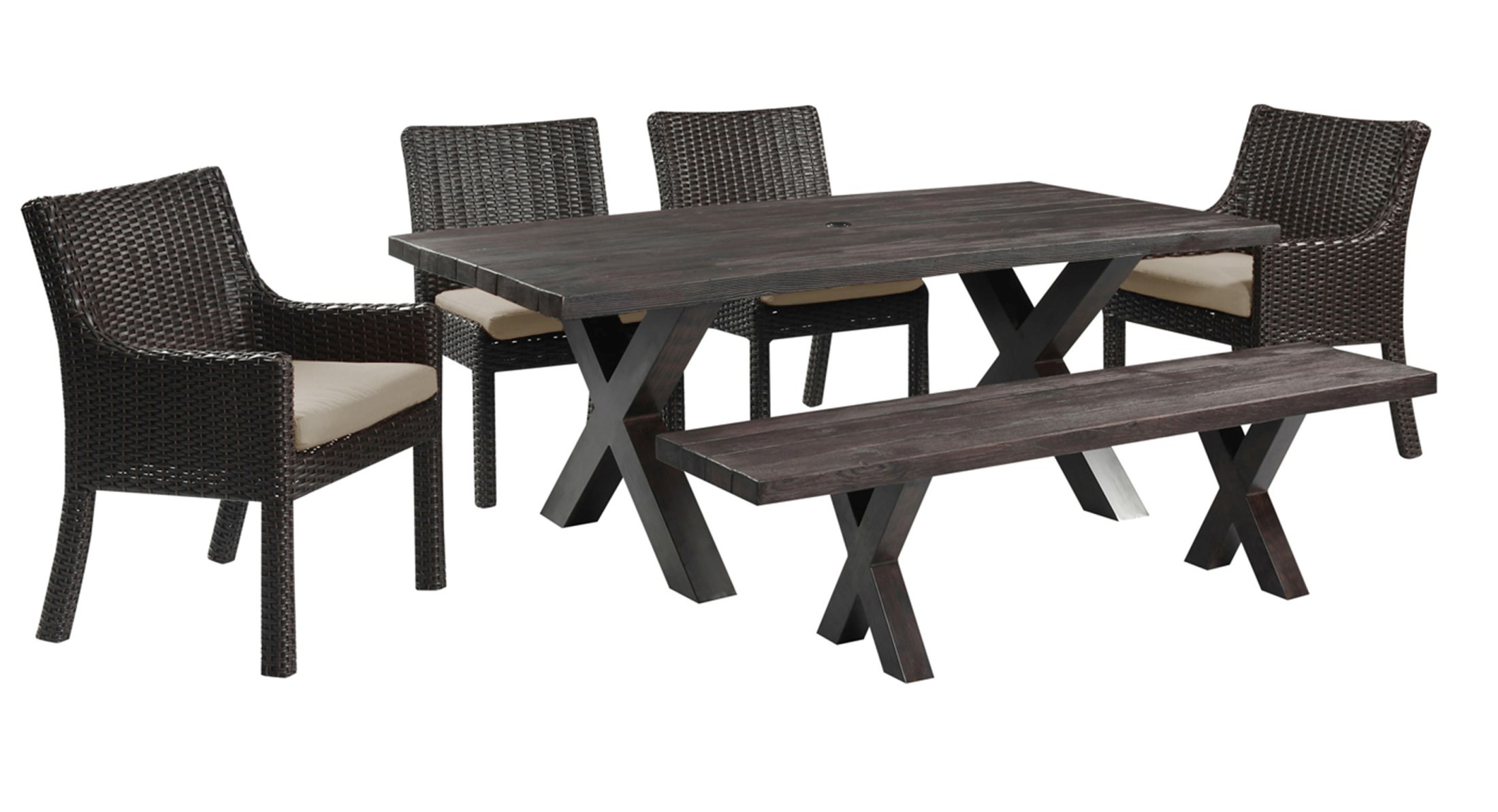 metro ii bark brown rectangular dining room set od1026 10grc k