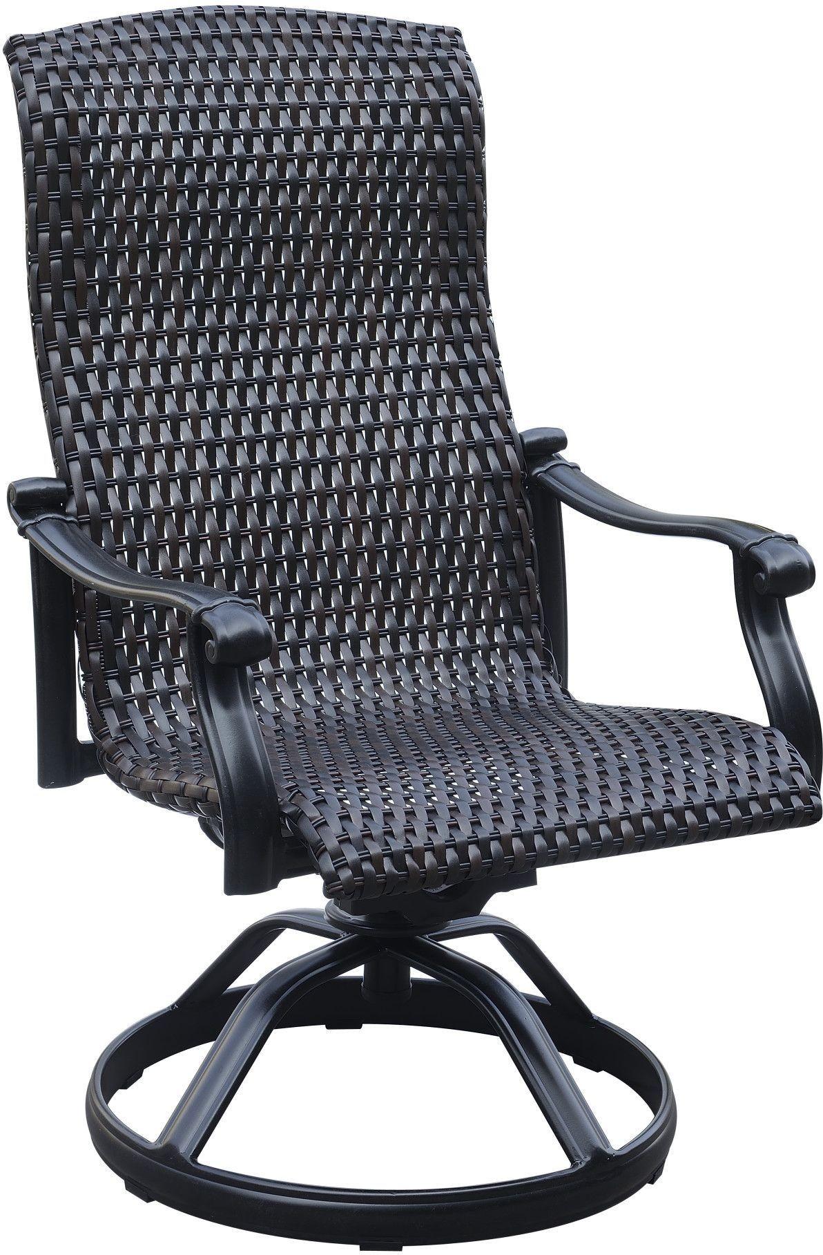 Versailles Onyx Outdoor Wicker Swivel Rocker Dining Chair