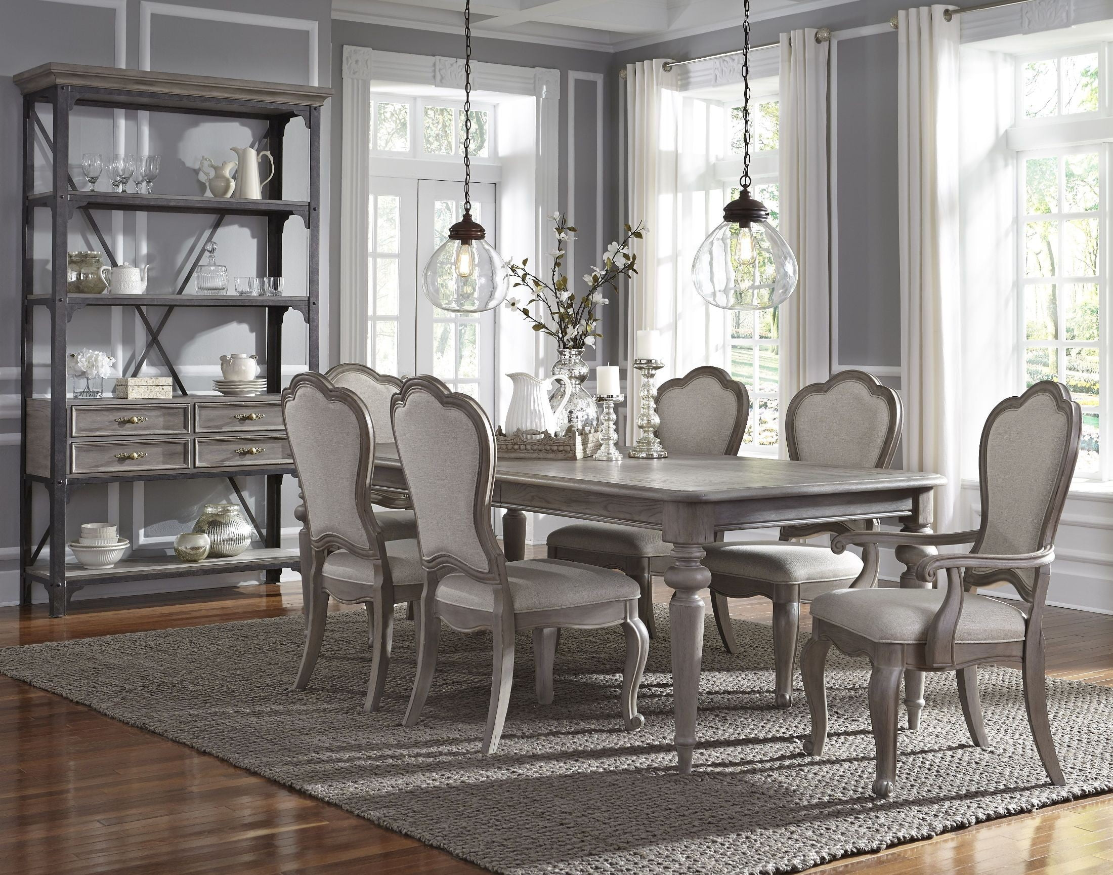 Simply Charming Weathered Grey Extendable Leg Dining Room Set