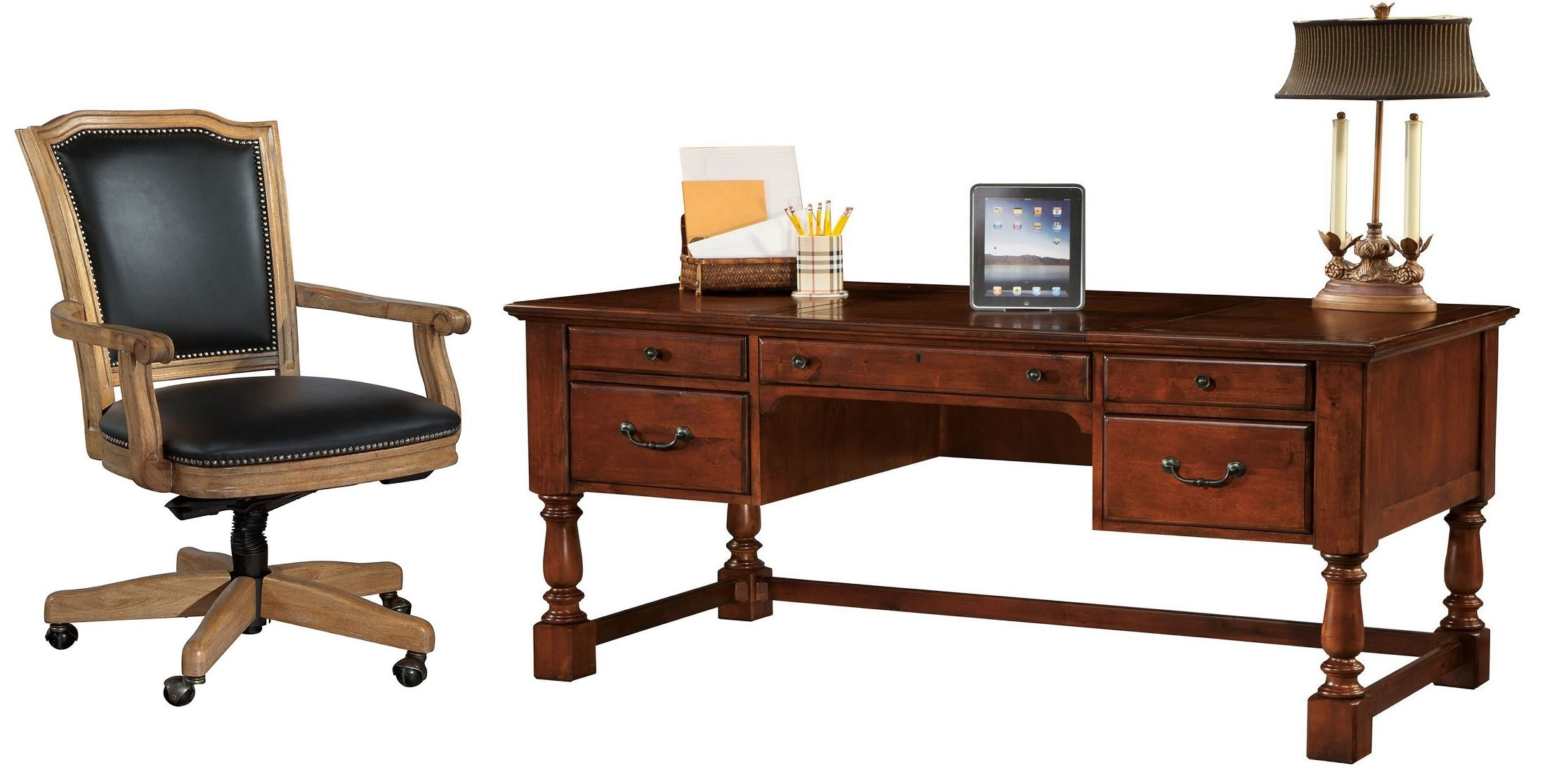 Weathered cherry desk home office set from hekman furniture coleman furniture - Home office desk furniture sets ...