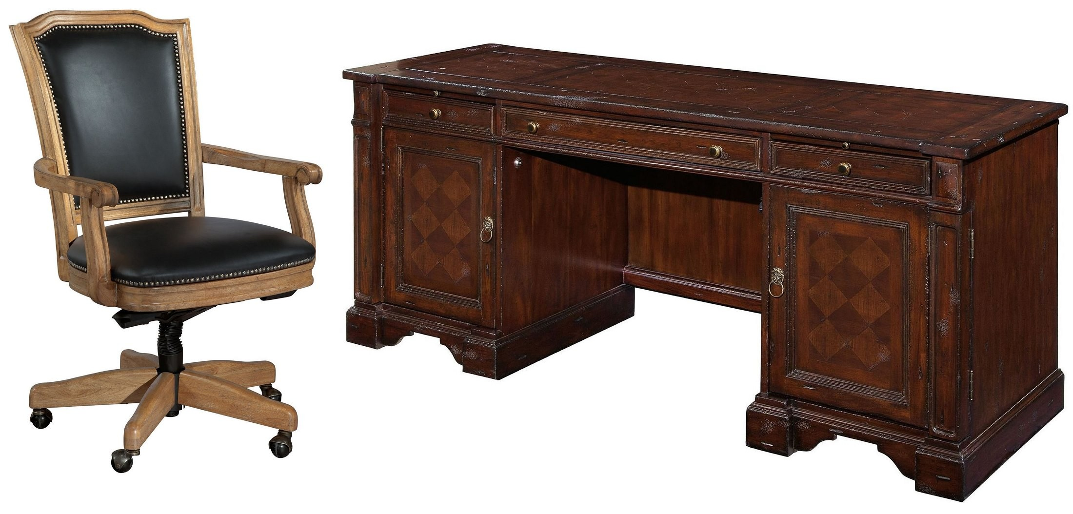 Havana antique brown credenza home office set from hekman for Vintage home office furniture