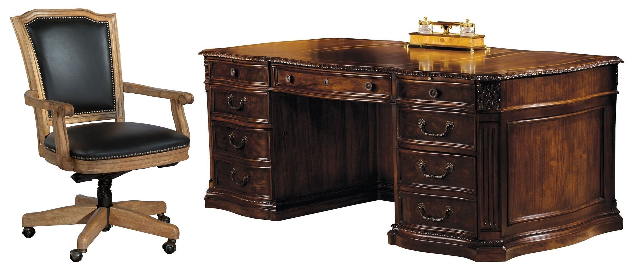 Old World Walnut Executive Desk Home Office Set From