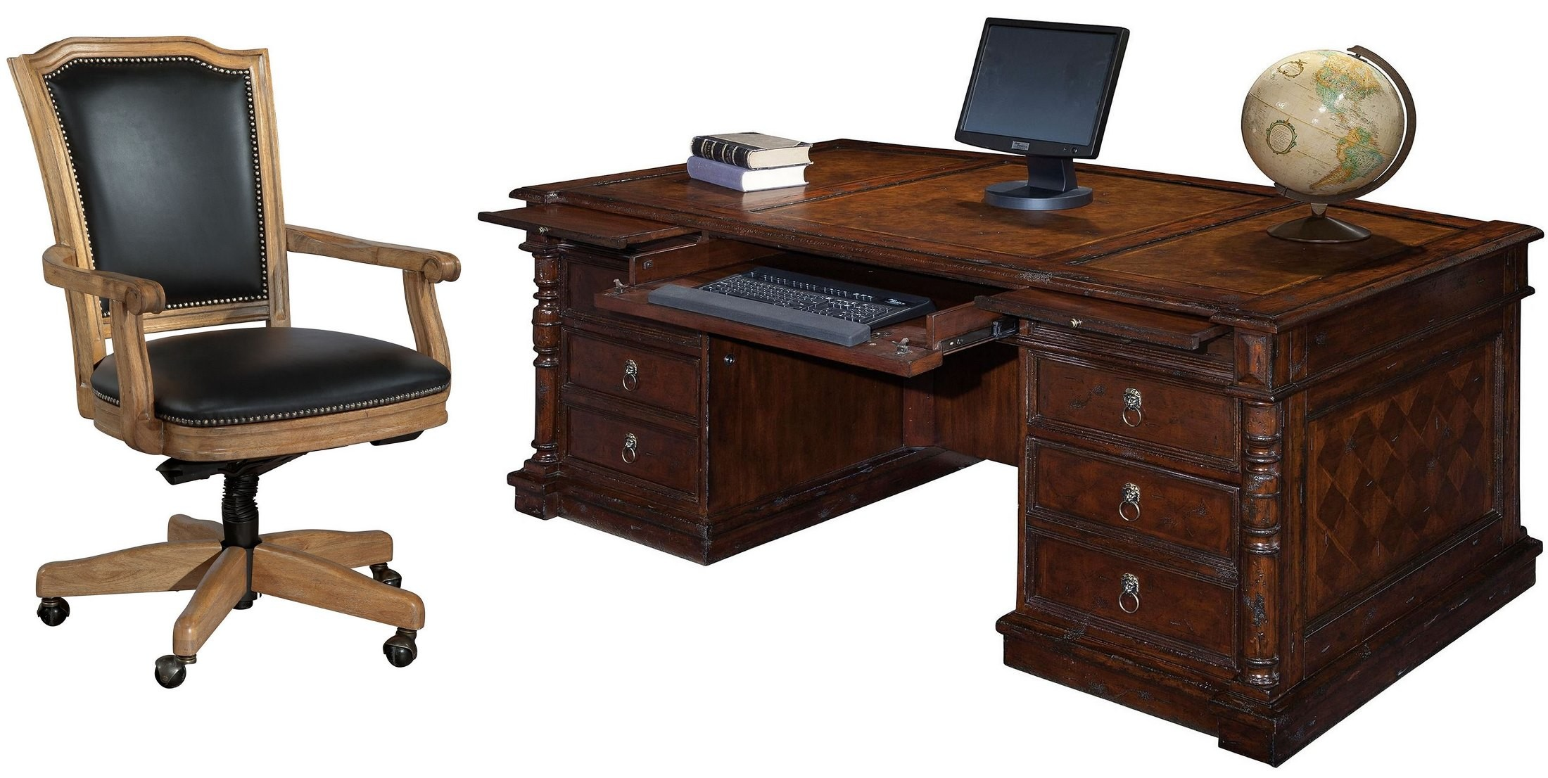 Havana antique brown partners desk home office set from for Vintage home office furniture