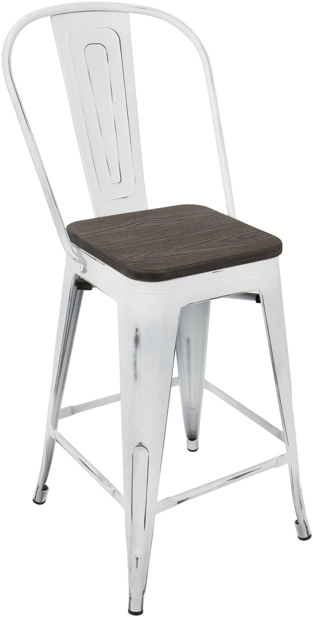 Oregon White High Back Counter Stool Set Of 2 From