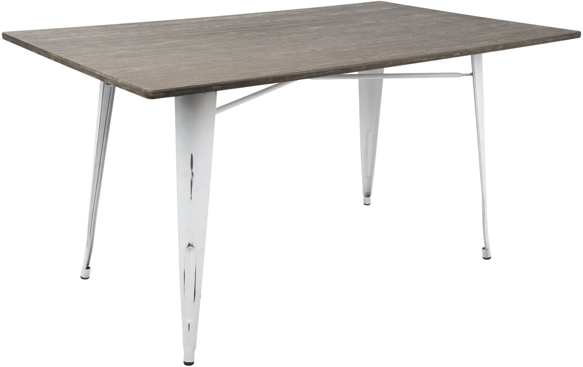 Oregon vintage white metal and espresso bamboo rectangle - White metal dining table ...