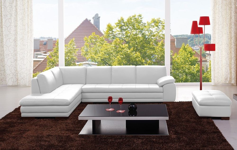 Orlando White Italian Leather LAF Sectional : sectionals orlando - Sectionals, Sofas & Couches