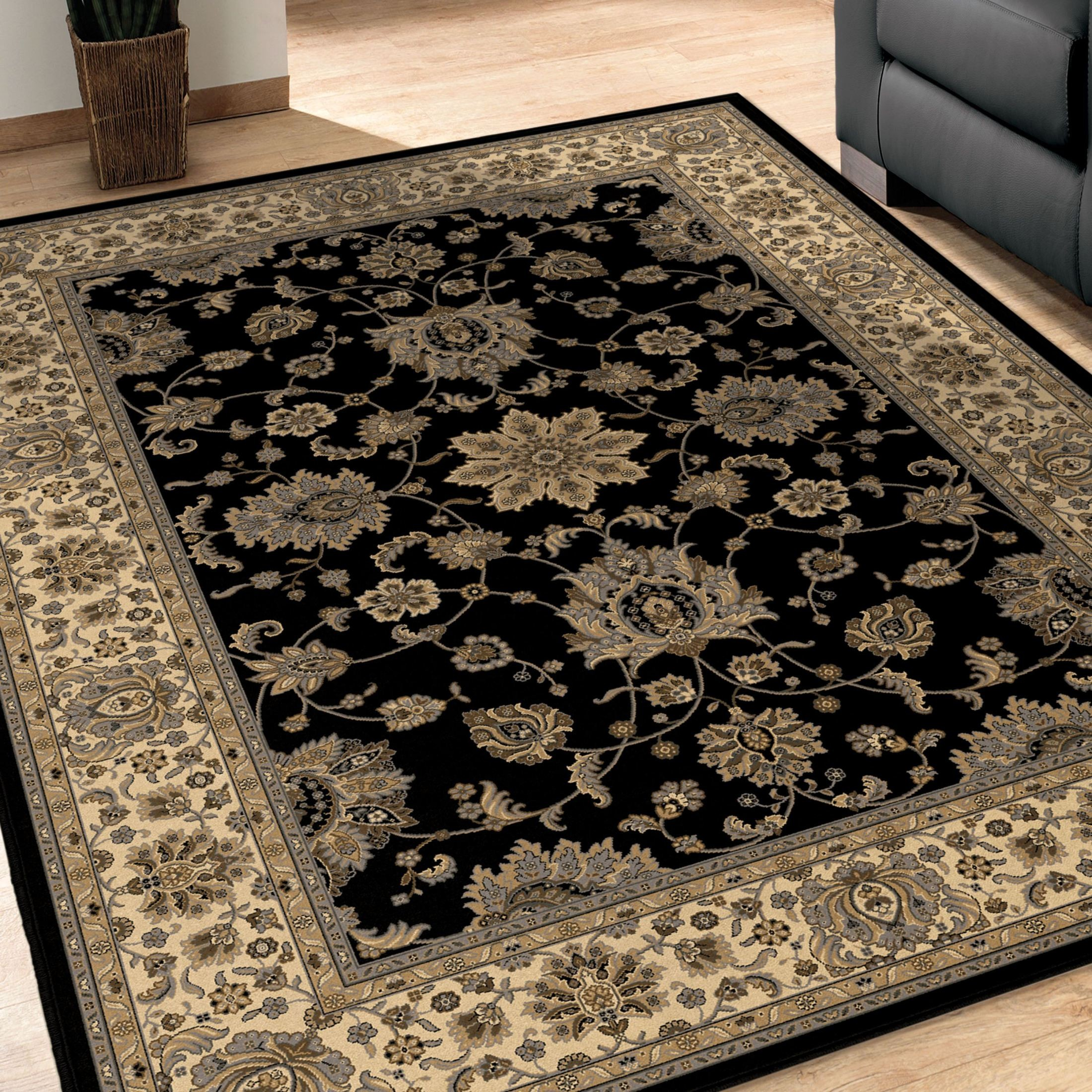 Black And White Extra Large Rug: Orian Rugs Detailed Design Traditional Borokan Black Area