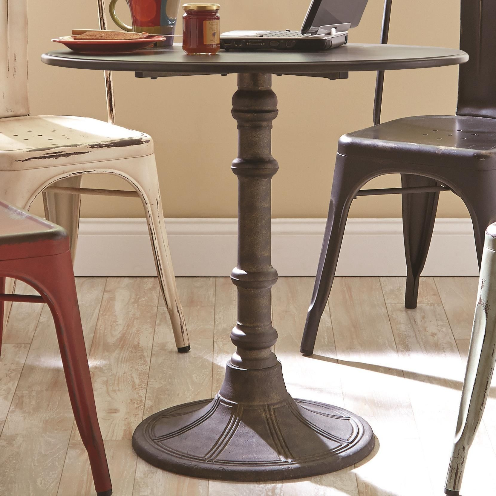 Oswego Industrial Round Bistro Pedestal Dining Table from Coaster (100063) | Coleman Furniture