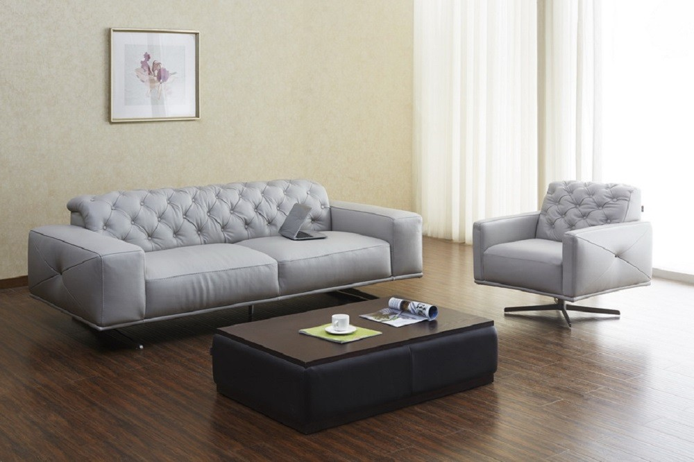 Othello light grey italian leather living room set from j for J m furniture soho living room collection