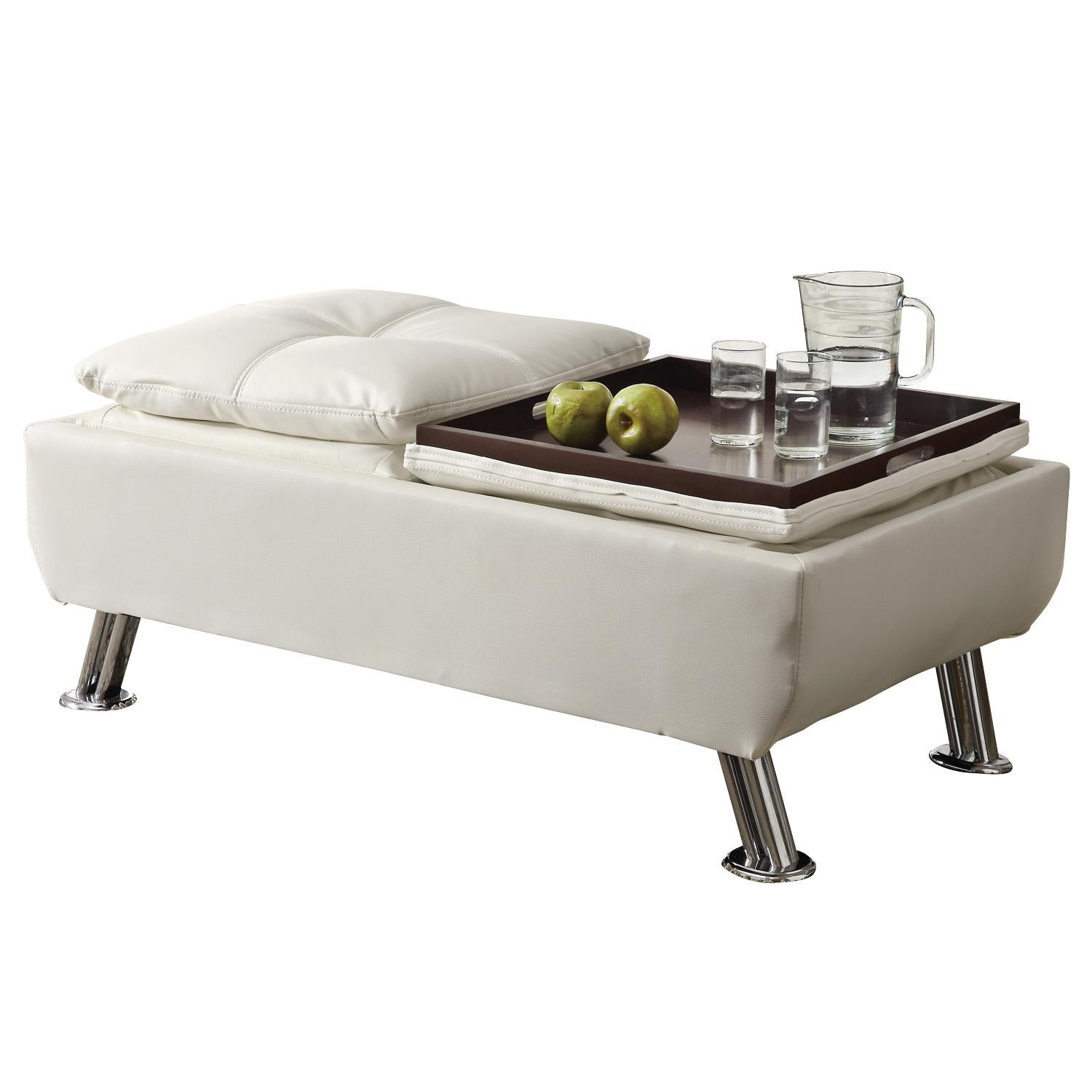 300293 Cocktail Ottoman With Reversible Tray Tops From