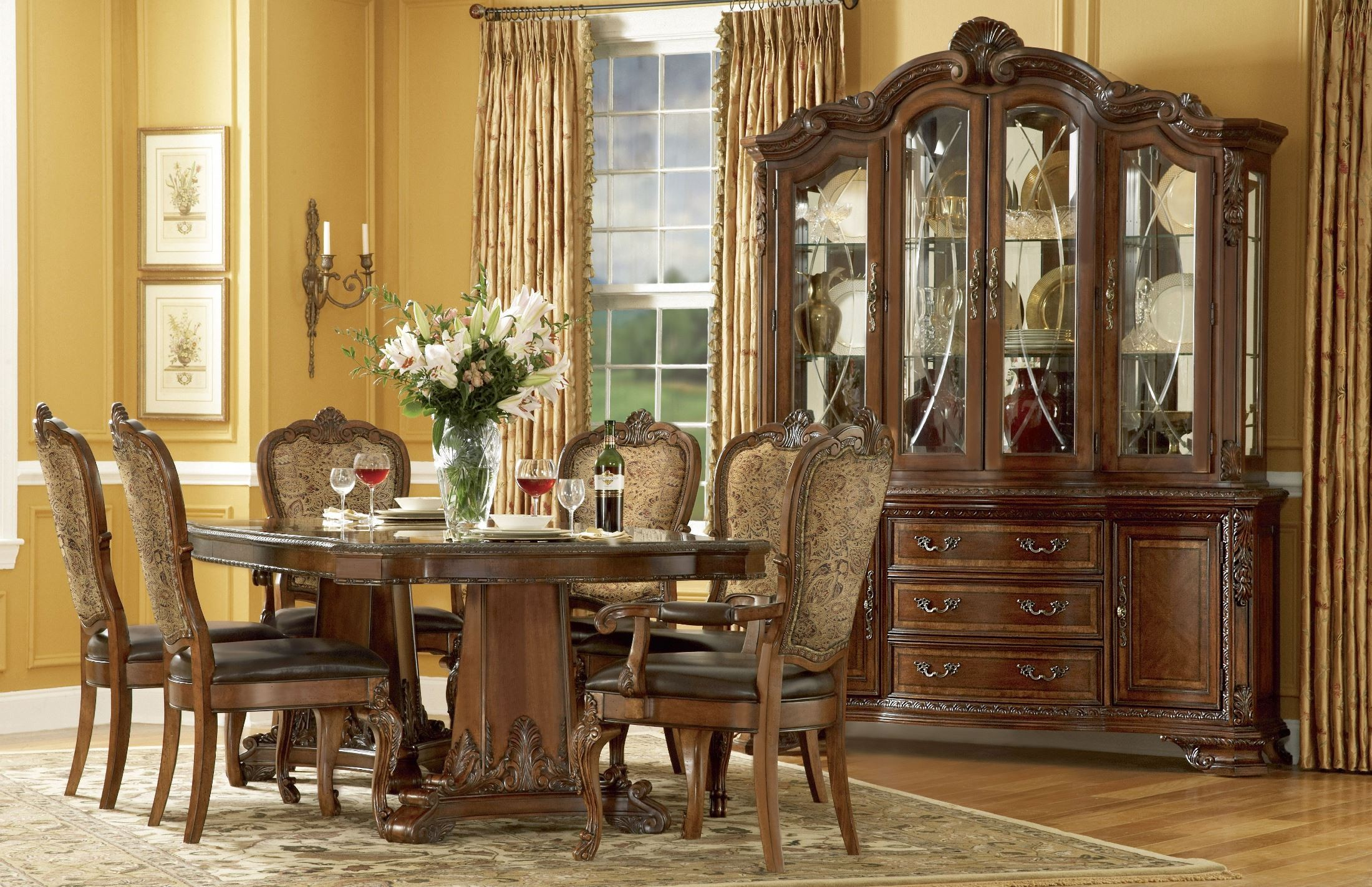 Old World Double Pedestal Extendable Dining Room Set From Art