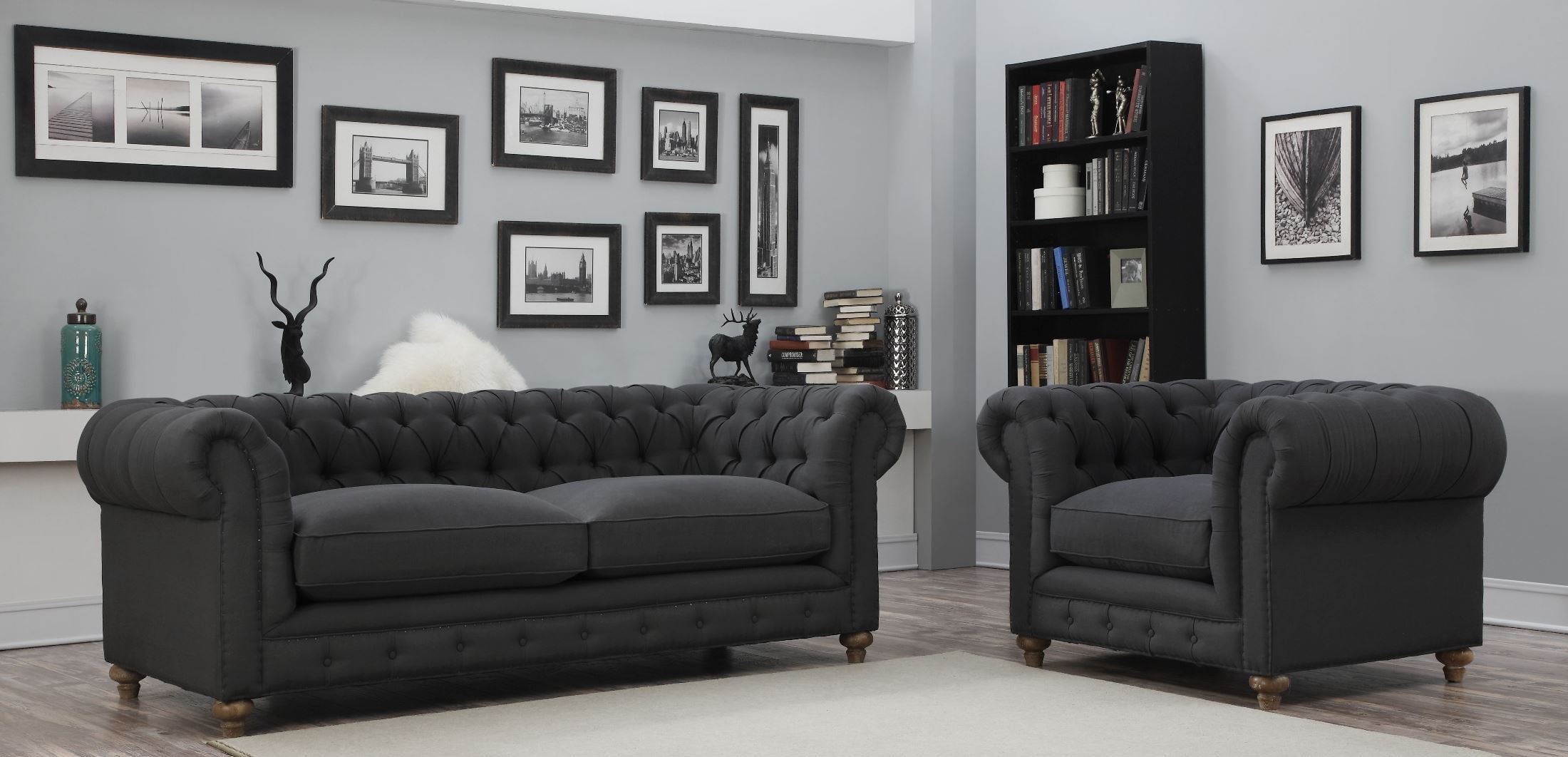 Oxford gray linen living room set from tov s34 coleman for Grey living room sets