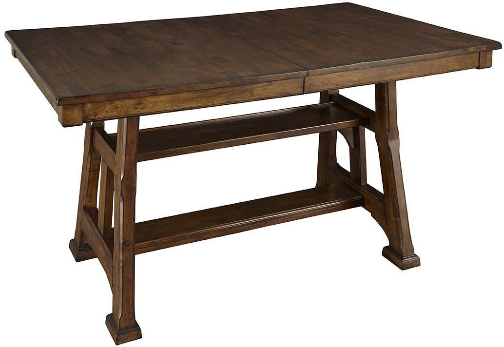 ozark 86 warm pecan extendable gathering height trestle dining table from a america coleman. Black Bedroom Furniture Sets. Home Design Ideas