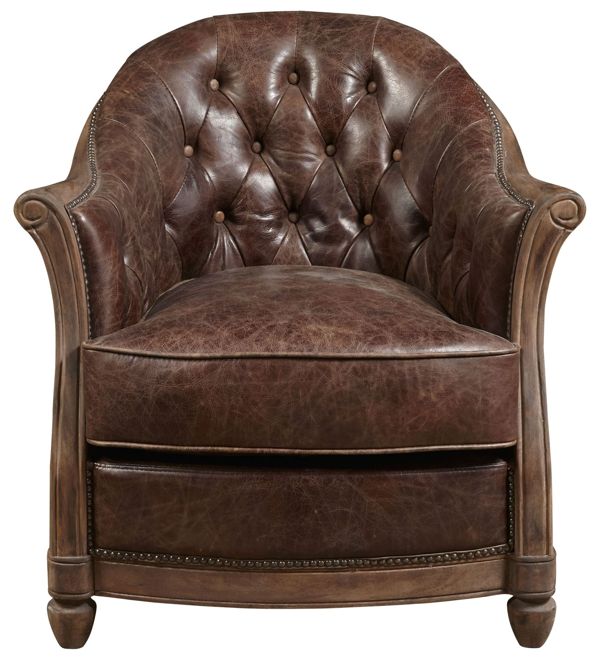 Tan Leather Accent Chair: Andrew Brown Leather Accent Chair, P006205, Pulaski