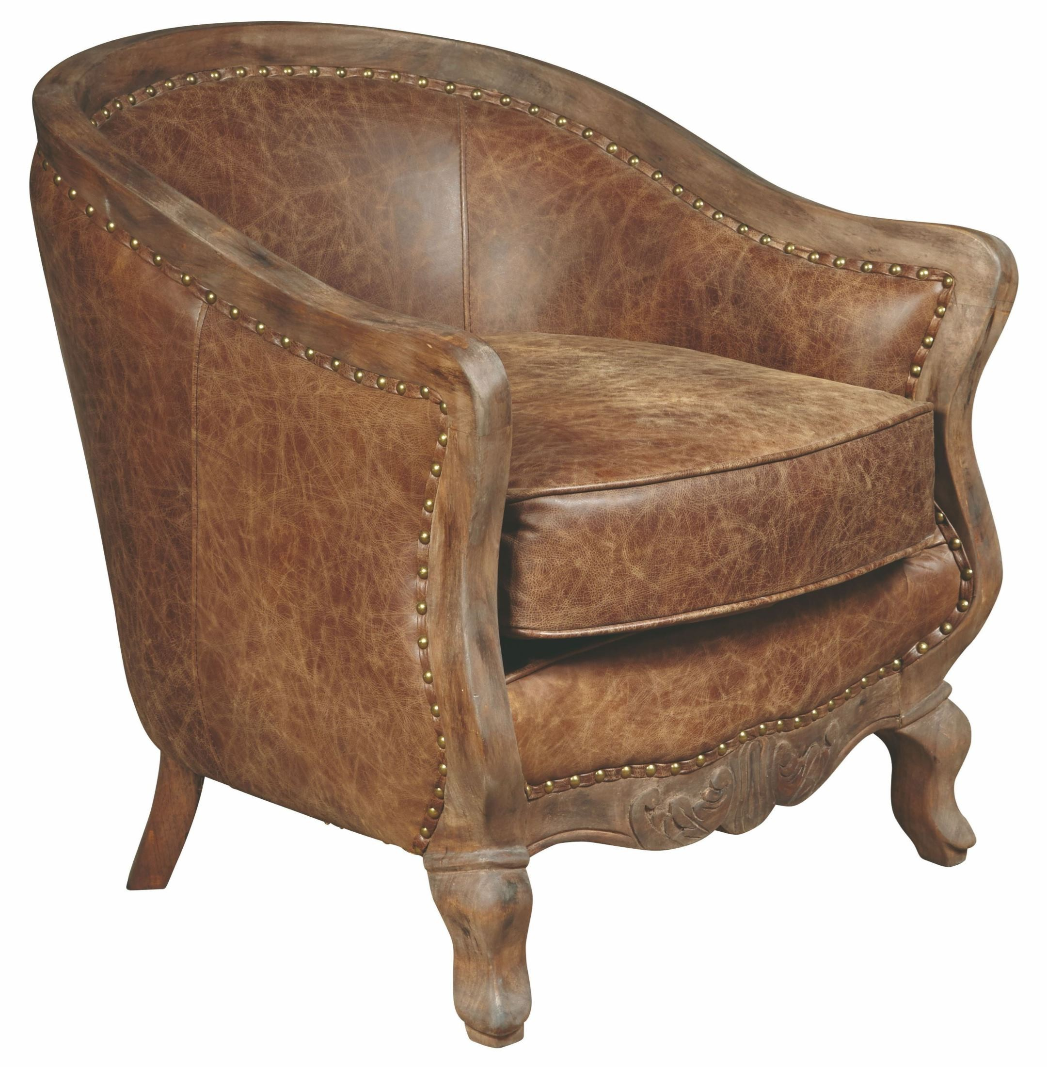 Sloane brown leather accent chair from pulaski coleman for Accent chair with brown leather sofa