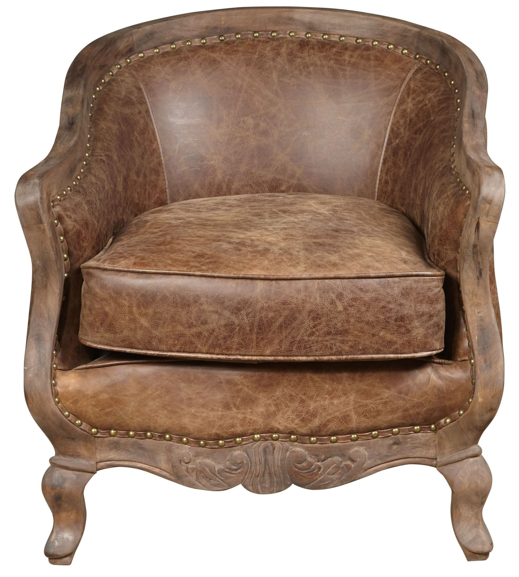 Tan Leather Accent Chair: Sloane Brown Leather Accent Chair, P006206, Pulaski