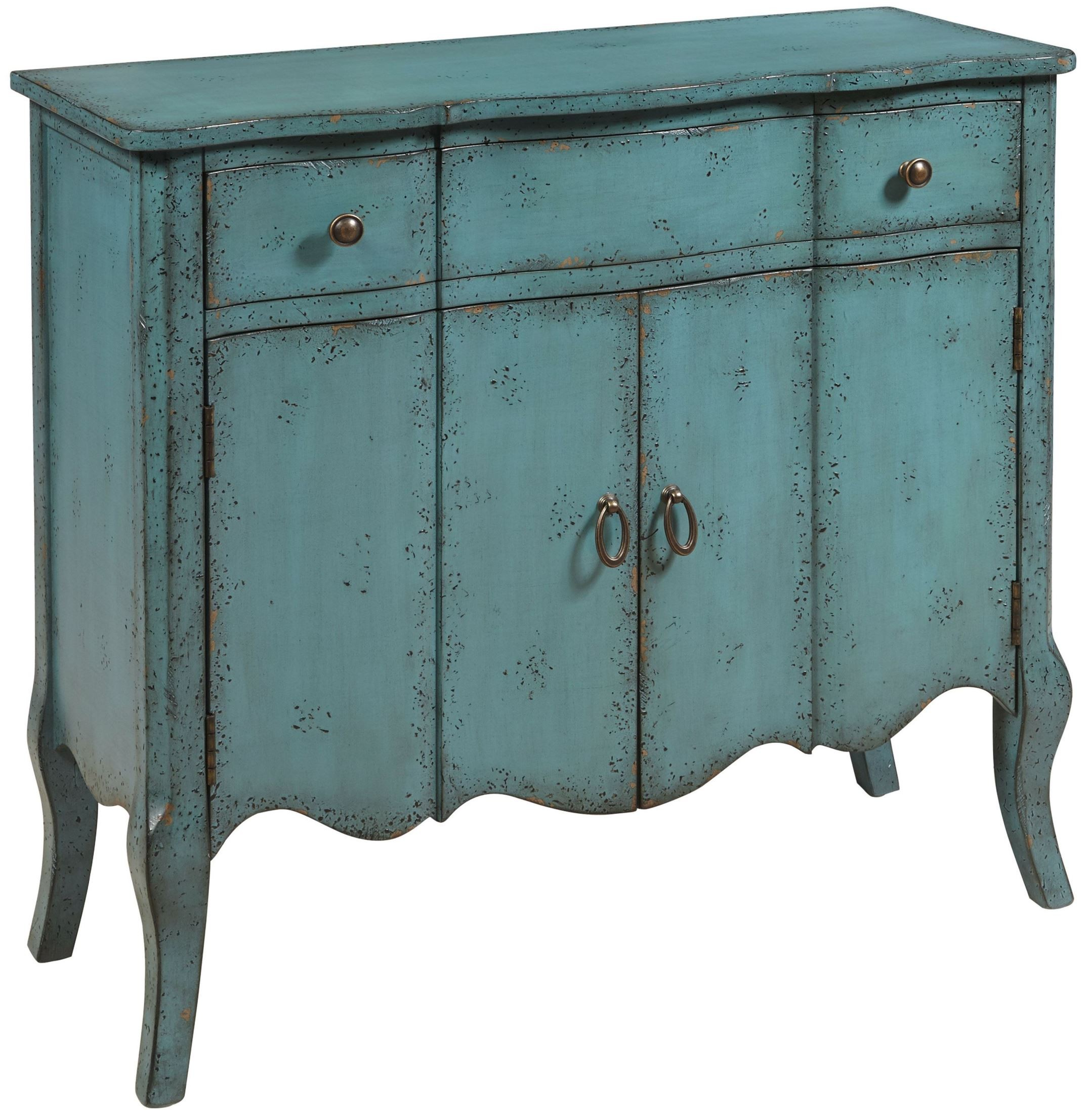 Distressed turquoise 1 drawer accent chest from pulaski for 1 door 6 drawer chest