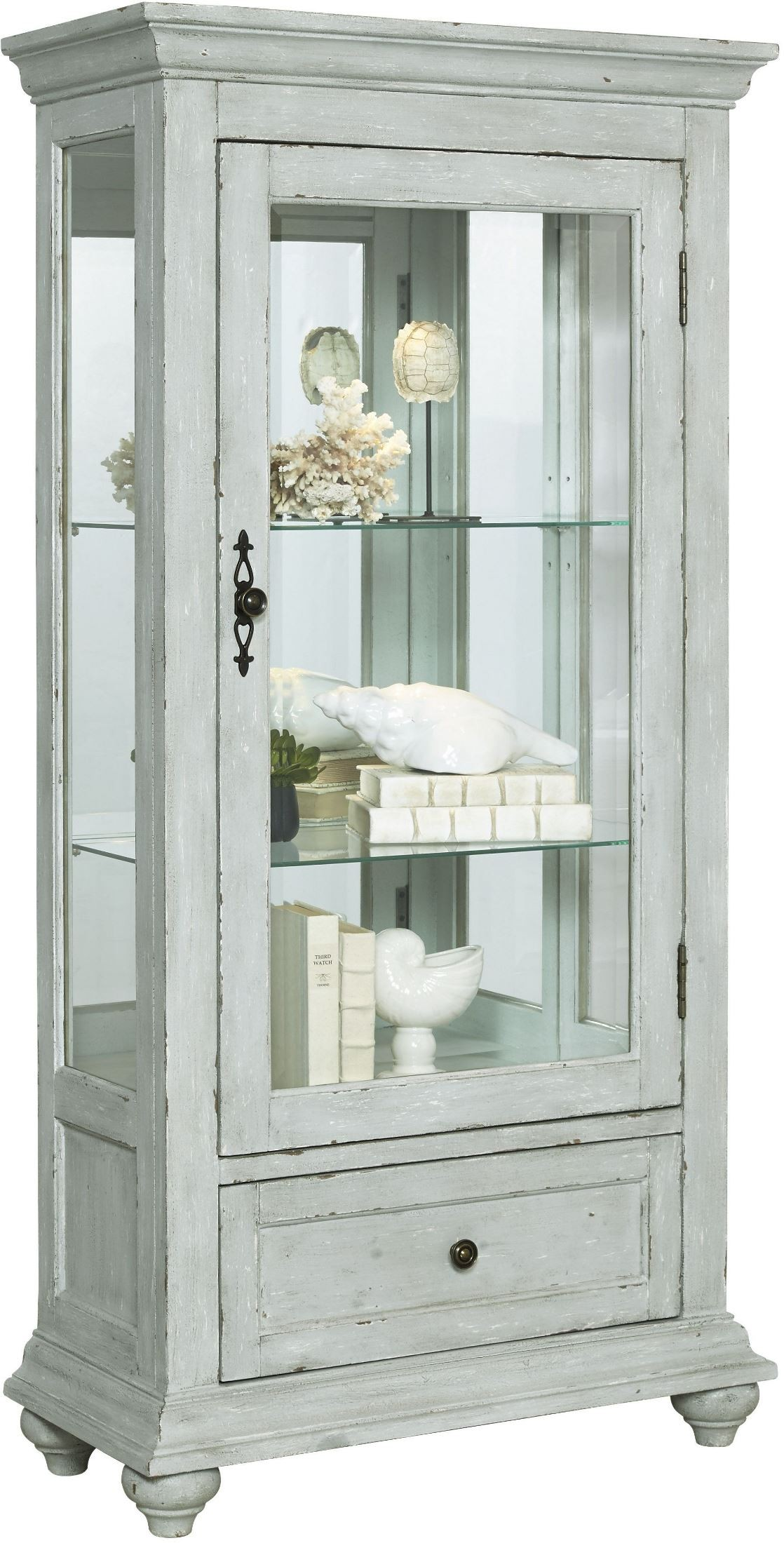 distressed curio cabinet zadie white accent curio from pulaski coleman furniture 14850