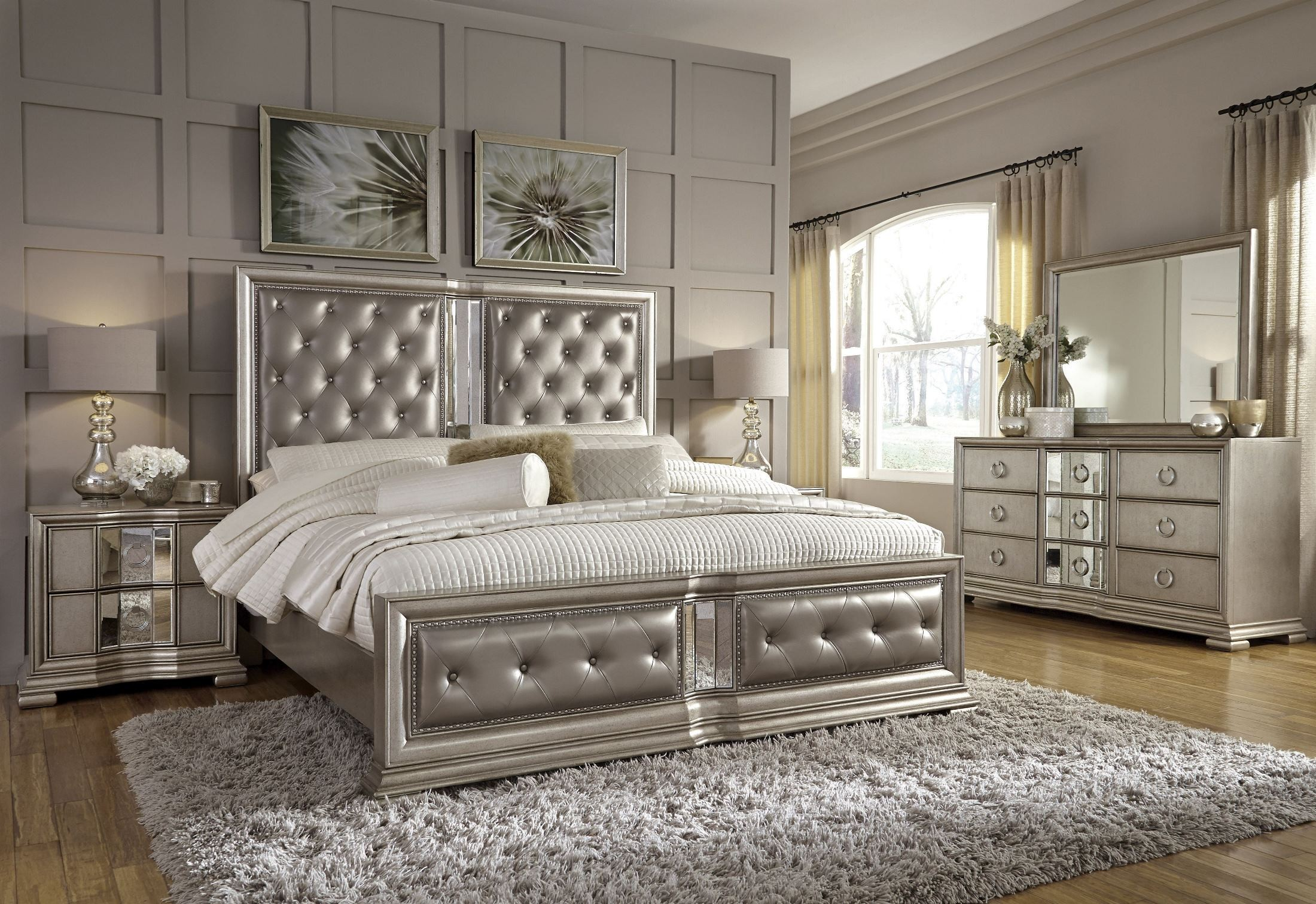 couture silver panel bedroom set from pulaski coleman furniture. Black Bedroom Furniture Sets. Home Design Ideas