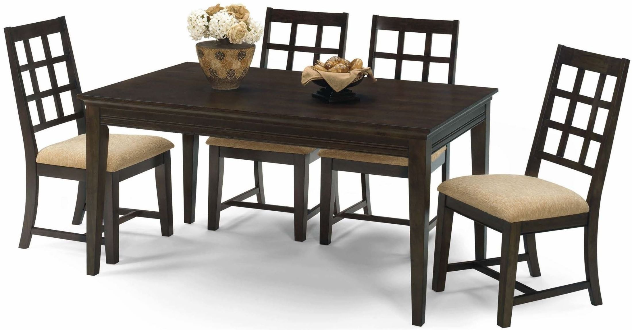 Casual traditions walnut rectangular dining room set from for Casual dining room furniture
