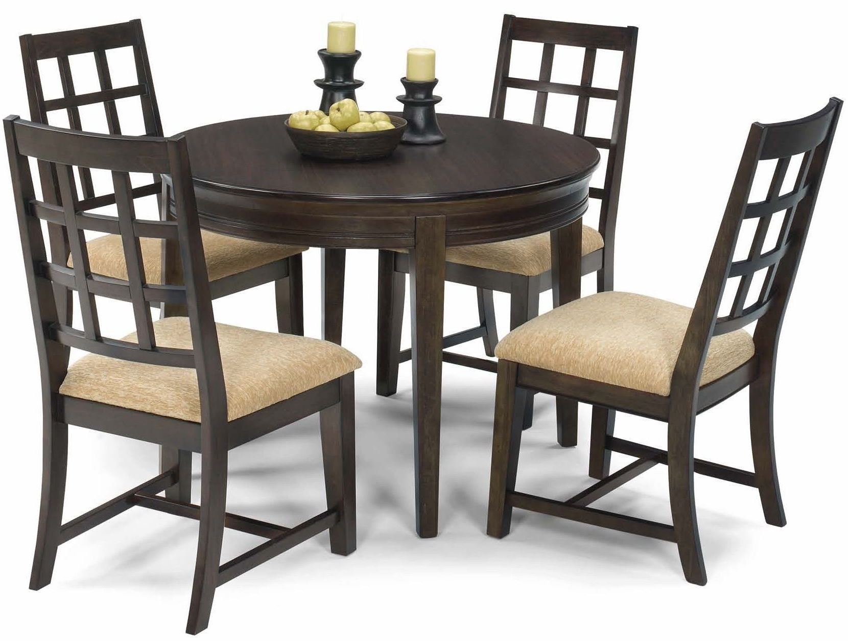 casual traditions walnut round dining room set from progressive furniture coleman furniture. Black Bedroom Furniture Sets. Home Design Ideas