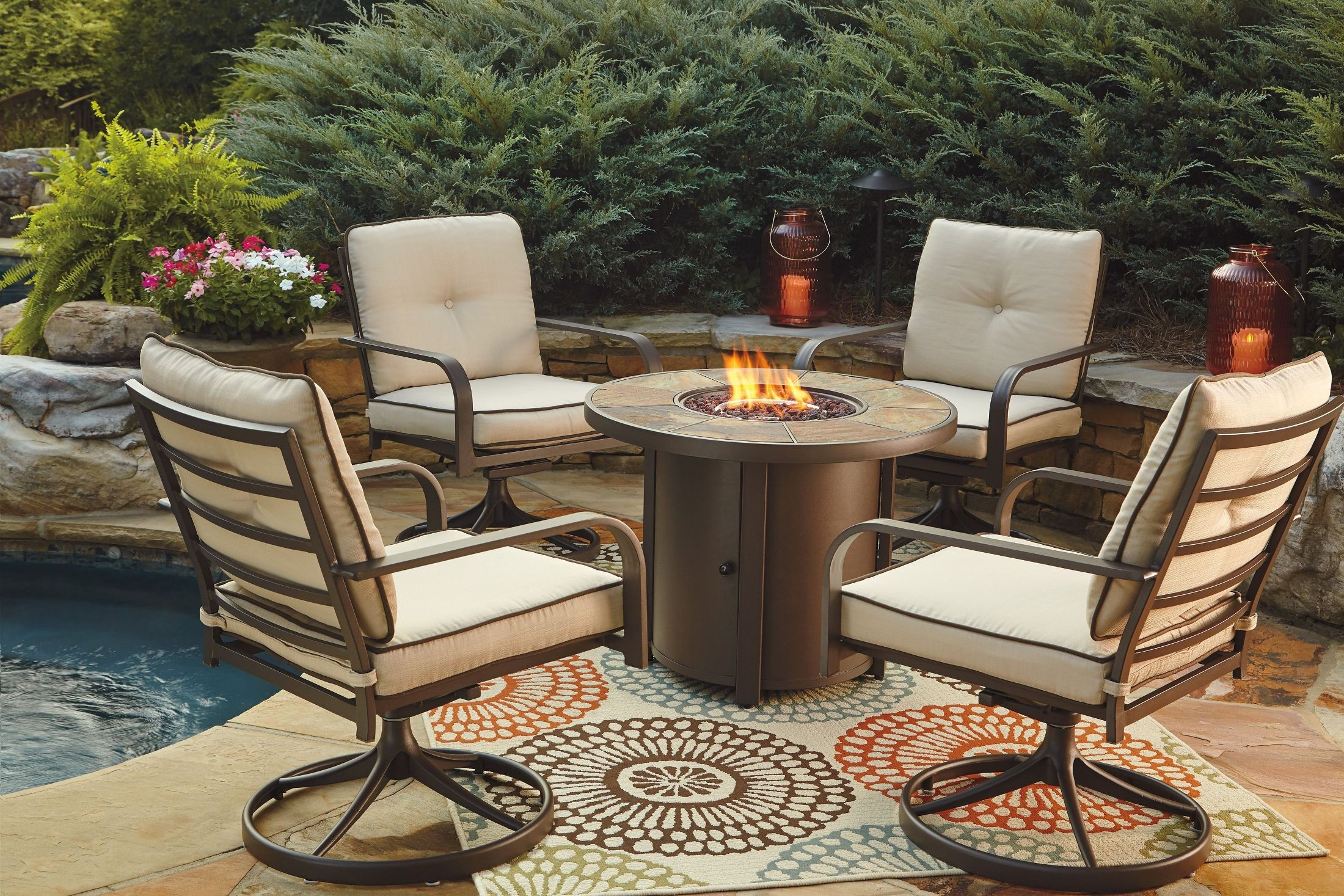 Predmore Beige and Brown Round Fire Pit Outdoor Dining Set ...