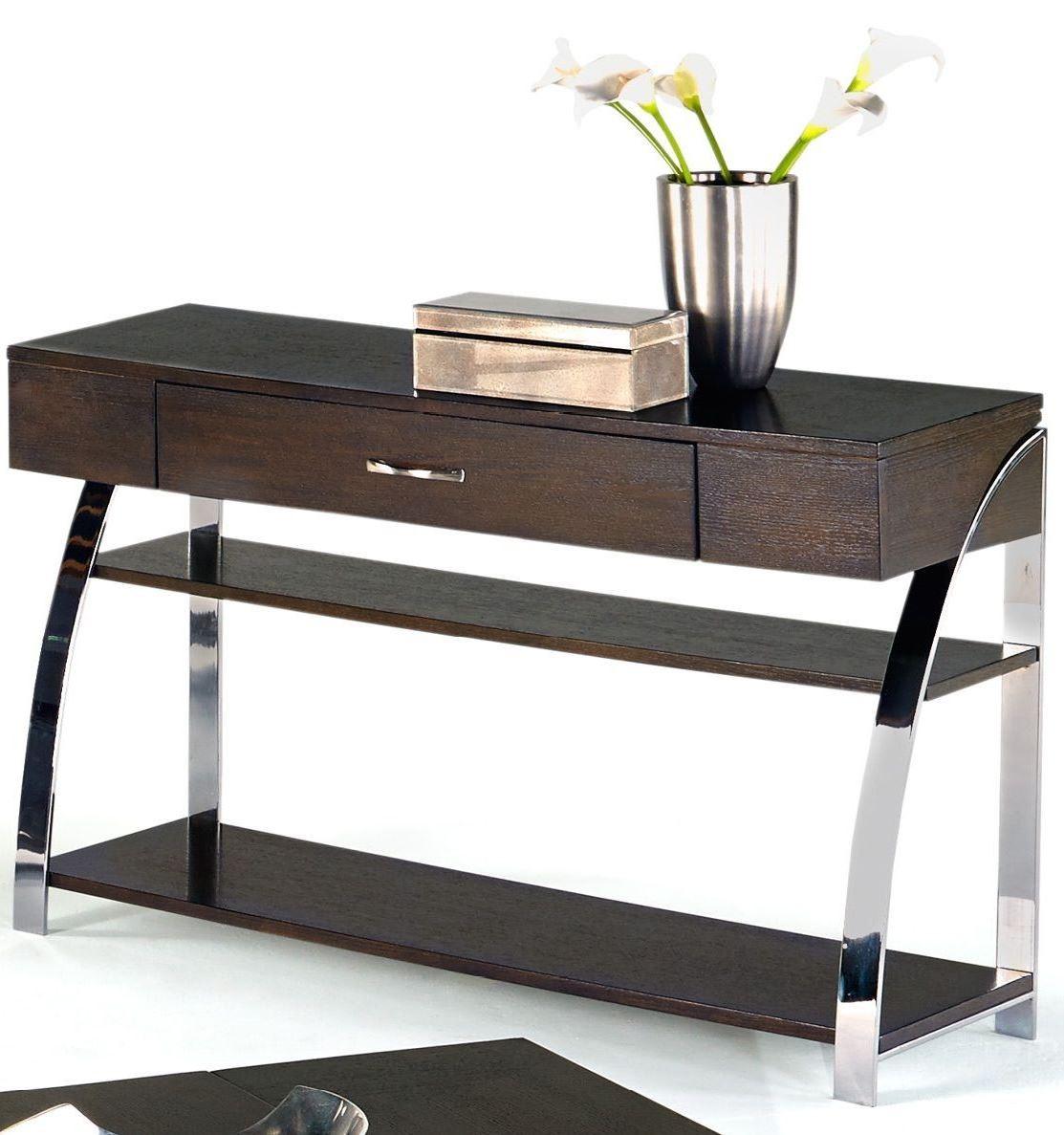 Showplace cappuccino sofa console table from progressive for Sofa console