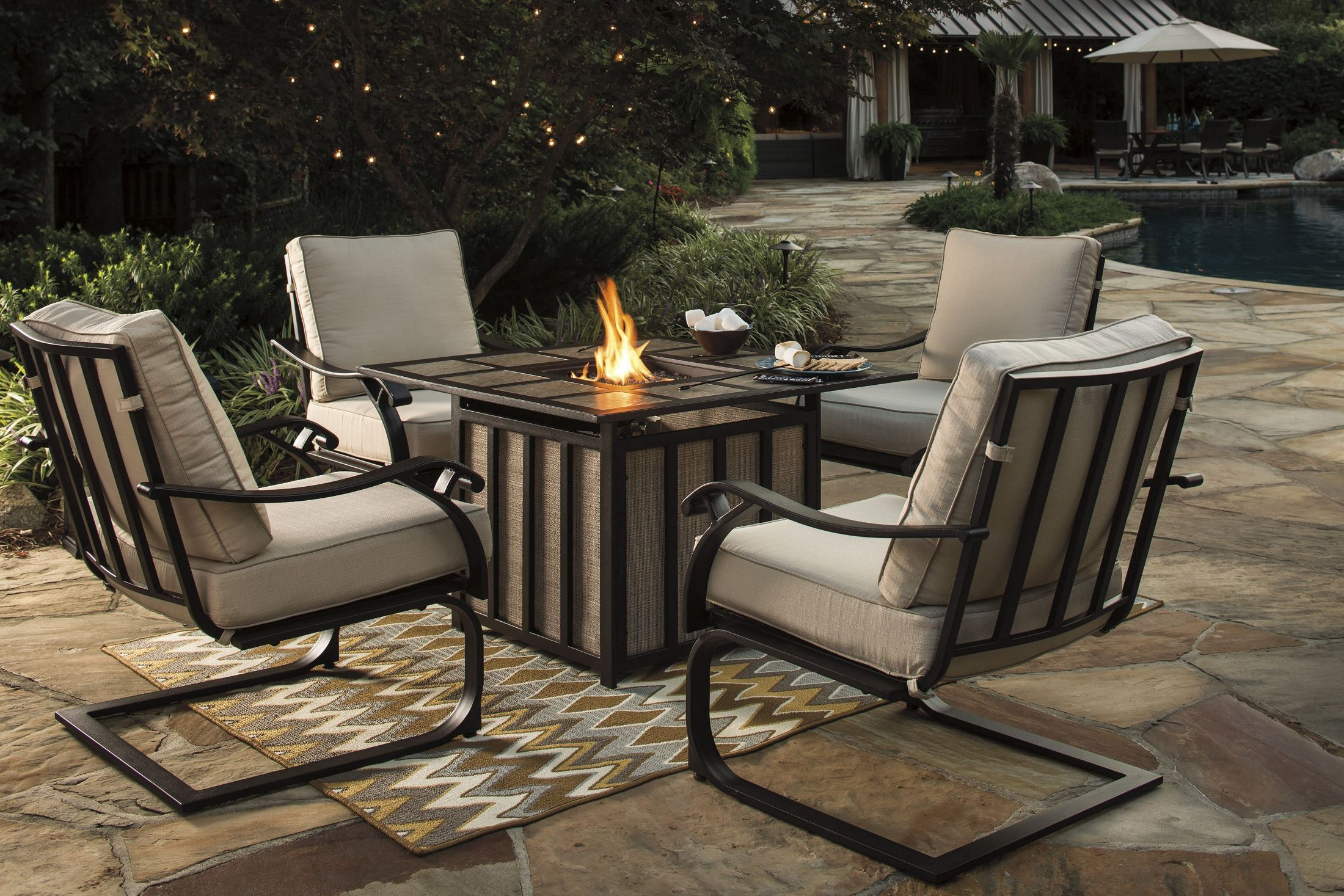 wandon beige and brown outdoor square fire pit outdoor dining set from ashley coleman furniture. Black Bedroom Furniture Sets. Home Design Ideas