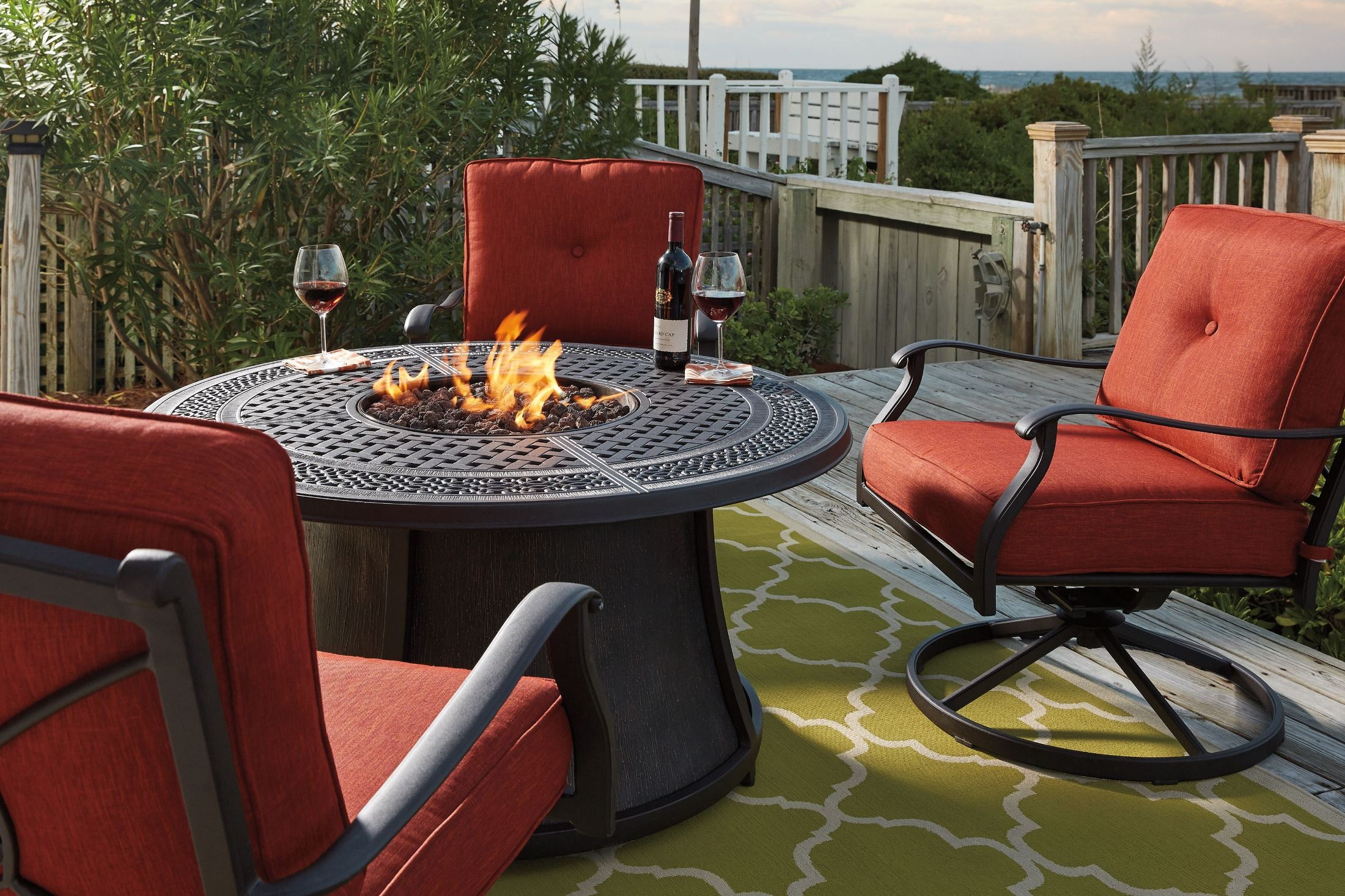 Burnella Round Fire Pit Outdoor Dining Set, P456-776T-776B